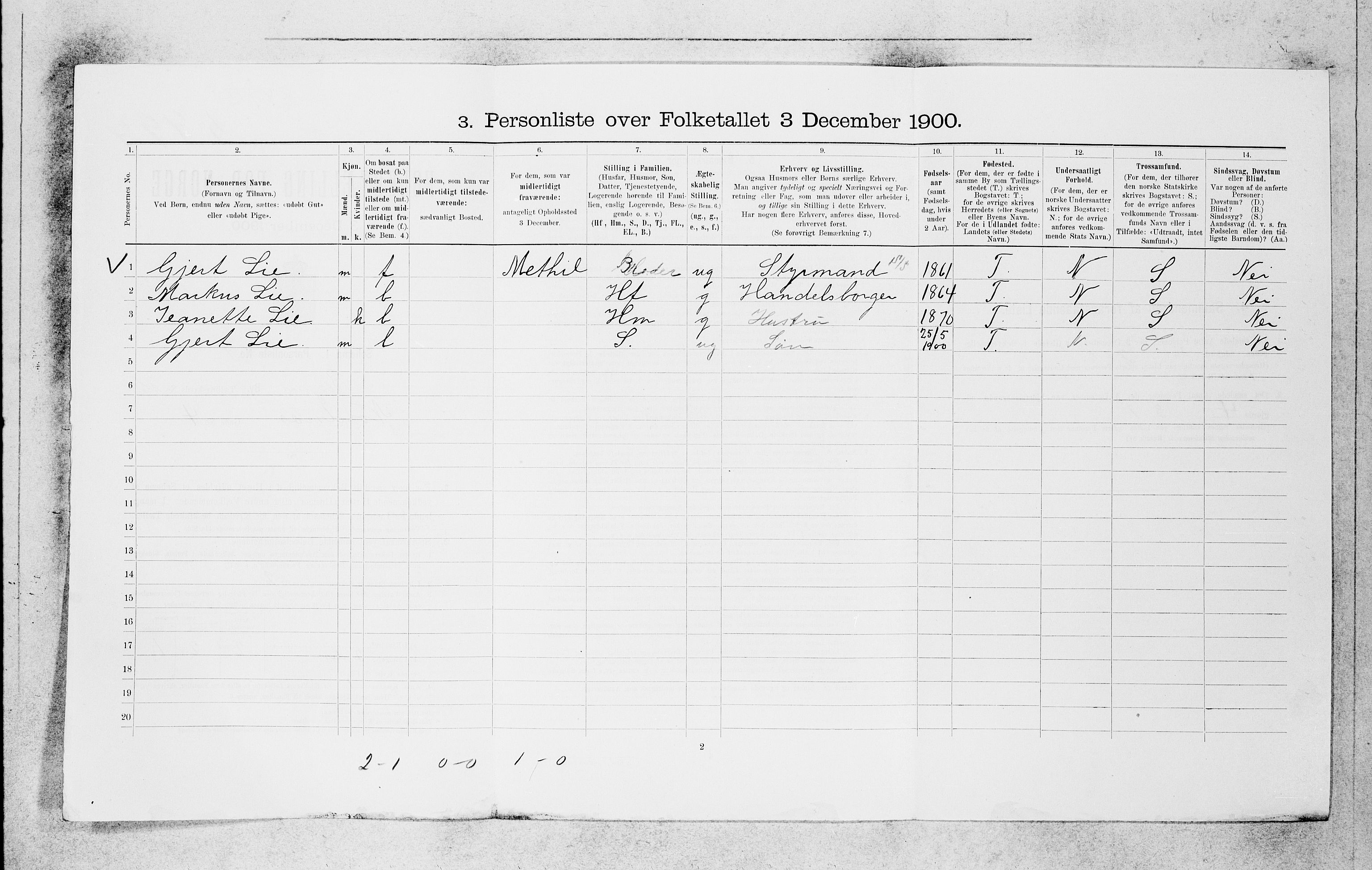 SAB, Folketelling 1900 for 1301 Bergen kjøpstad, 1900, s. 5543