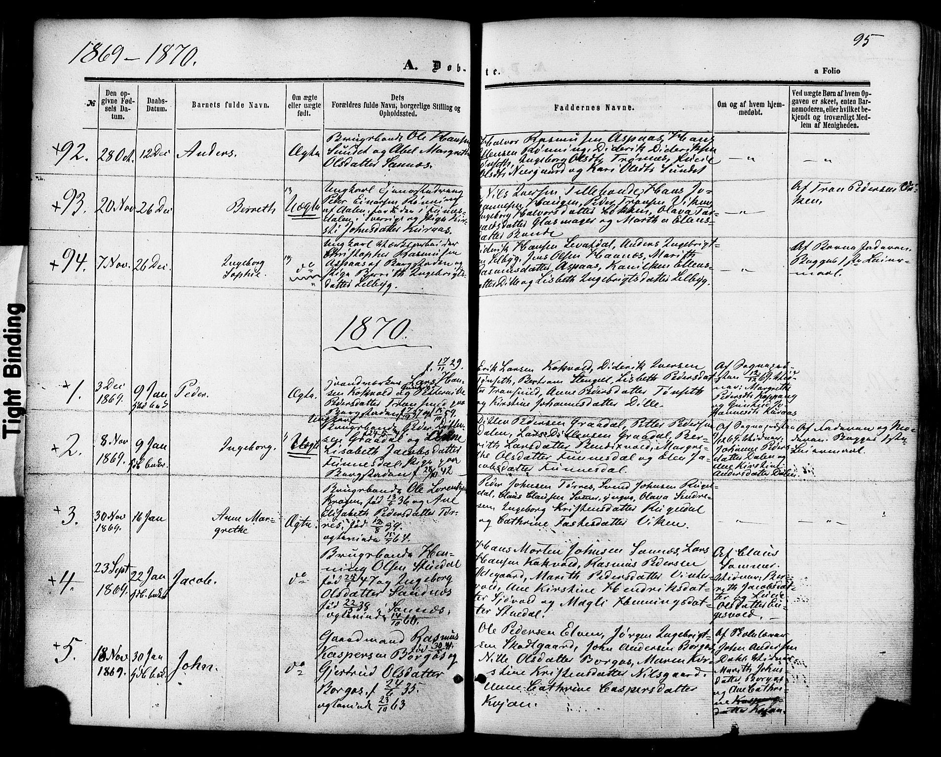 SAT, Ministerialprotokoller, klokkerbøker og fødselsregistre - Sør-Trøndelag, 681/L0932: Ministerialbok nr. 681A10, 1860-1878, s. 95