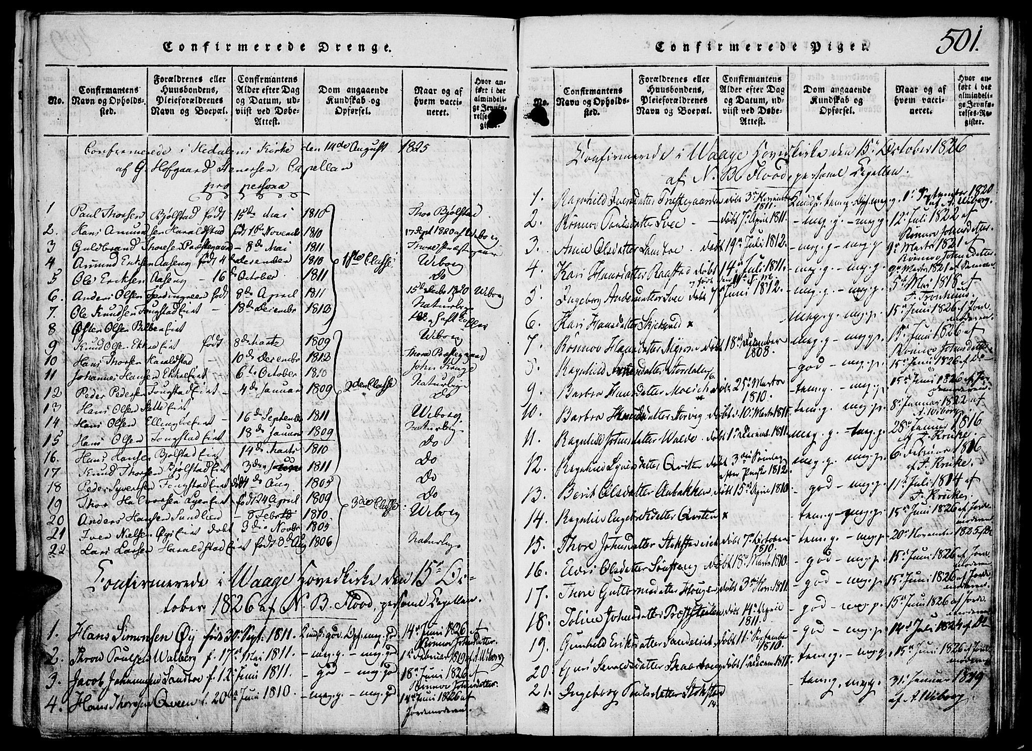 SAH, Vågå prestekontor, Klokkerbok nr. 1, 1815-1827, s. 500-501