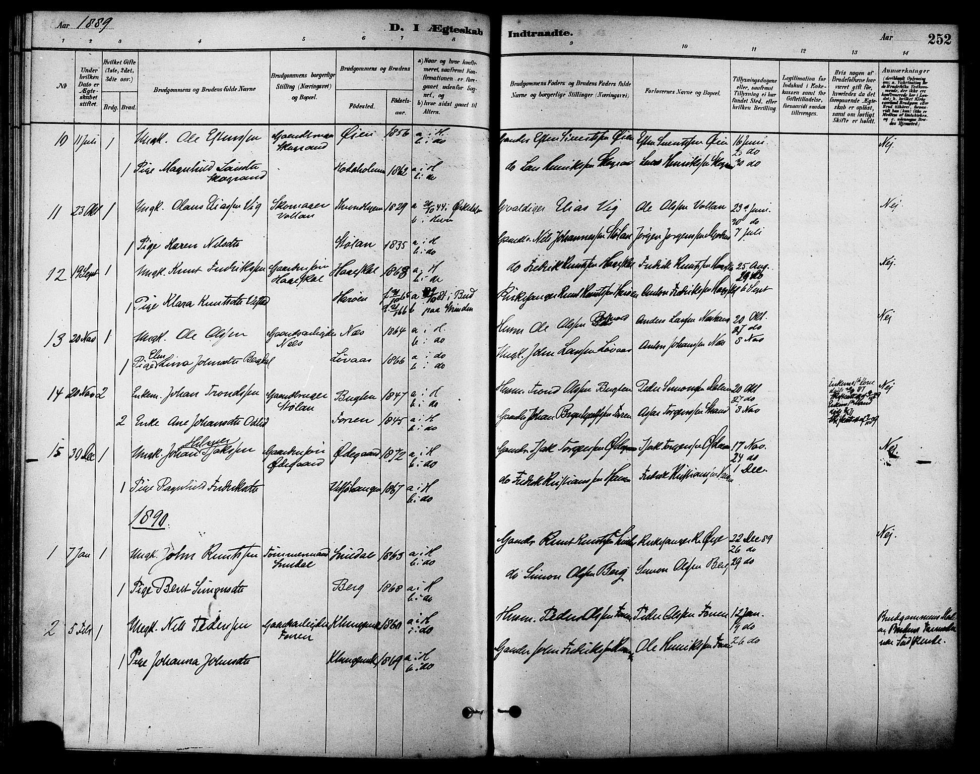 SAT, Ministerialprotokoller, klokkerbøker og fødselsregistre - Sør-Trøndelag, 630/L0496: Ministerialbok nr. 630A09, 1879-1895, s. 252