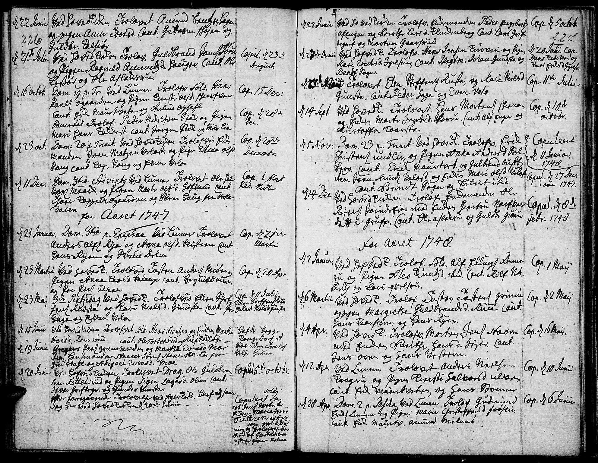 SAH, Jevnaker prestekontor, Ministerialbok nr. 2, 1725-1751, s. 226-227