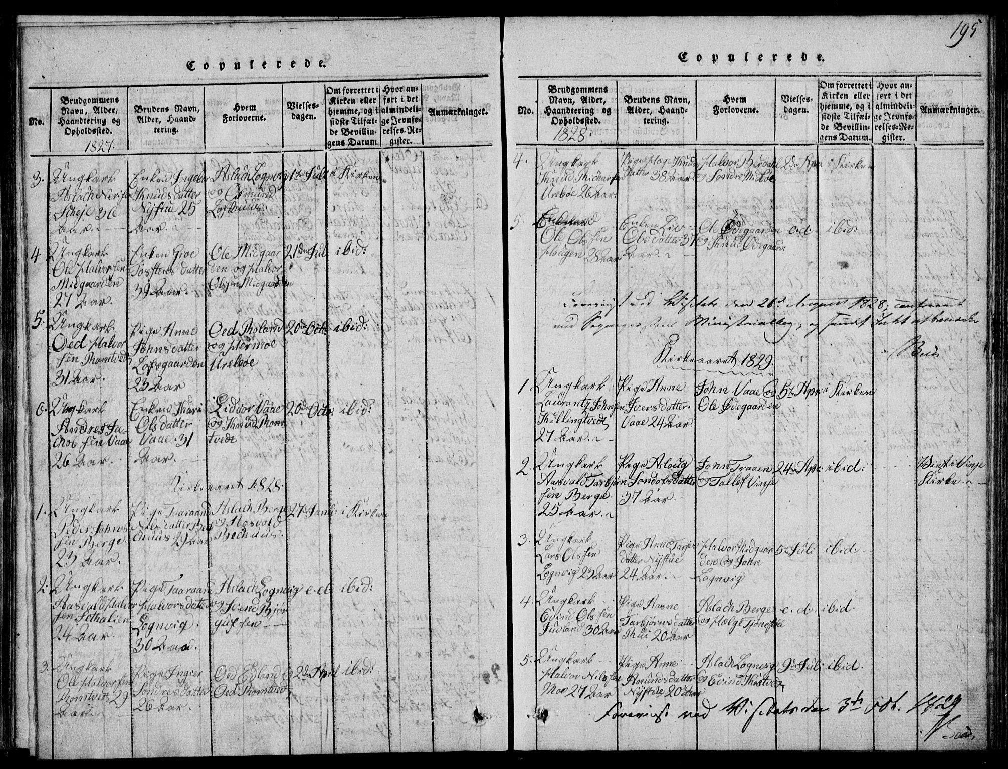SAKO, Rauland kirkebøker, G/Ga/L0001: Klokkerbok nr. I 1, 1814-1843, s. 195