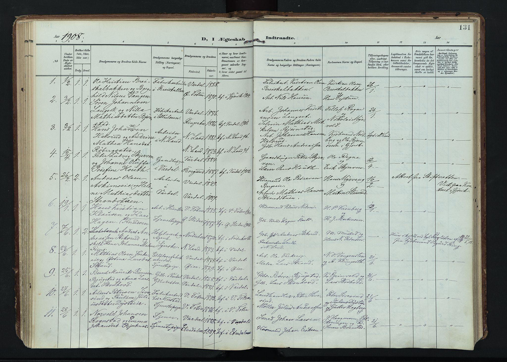 SAH, Vardal prestekontor, H/Ha/Haa/L0020: Ministerialbok nr. 20, 1907-1921, s. 131