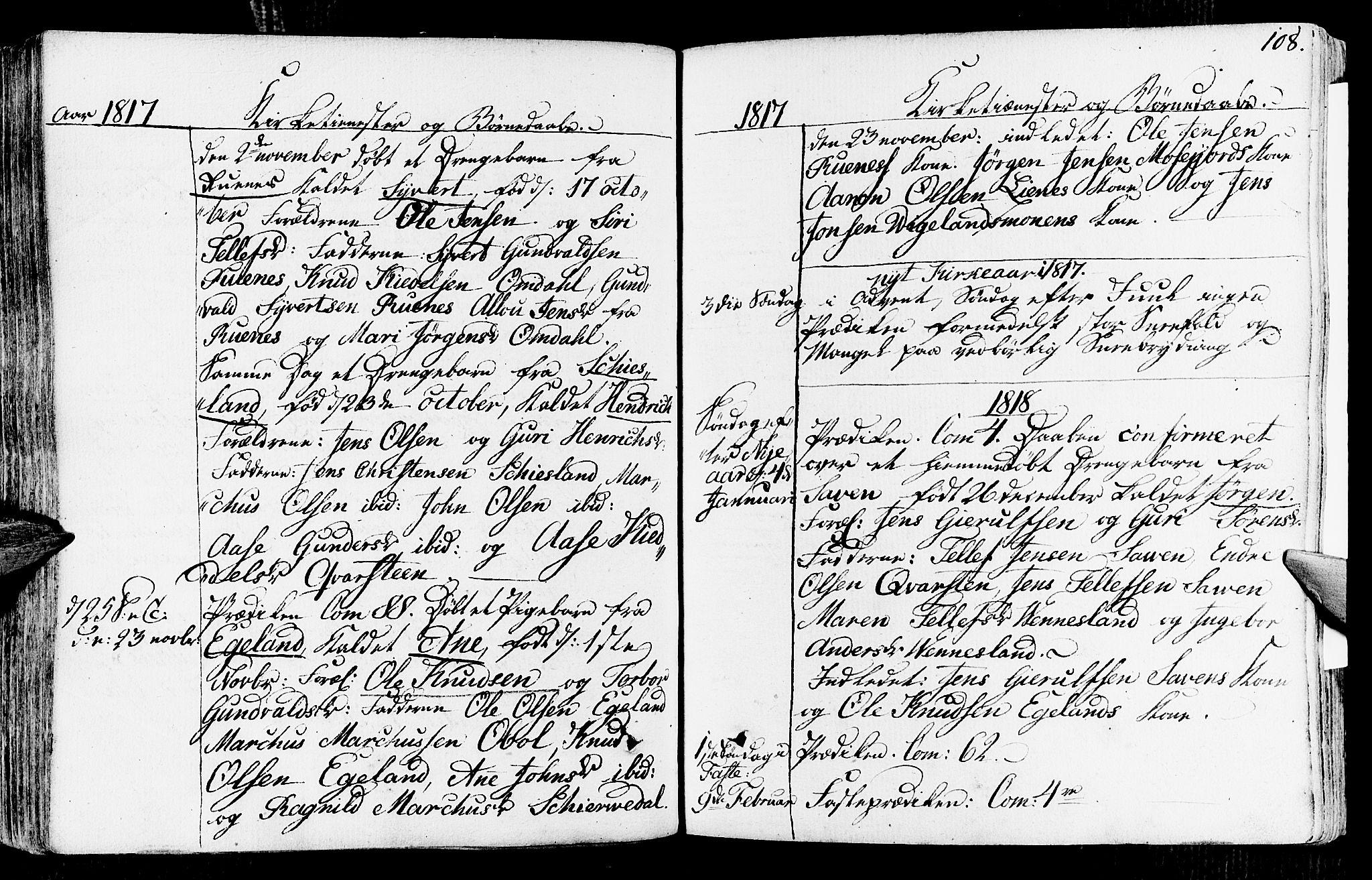 SAK, Vennesla sokneprestkontor, Fa/Fab/L0002: Ministerialbok nr. A 2, 1794-1834, s. 108