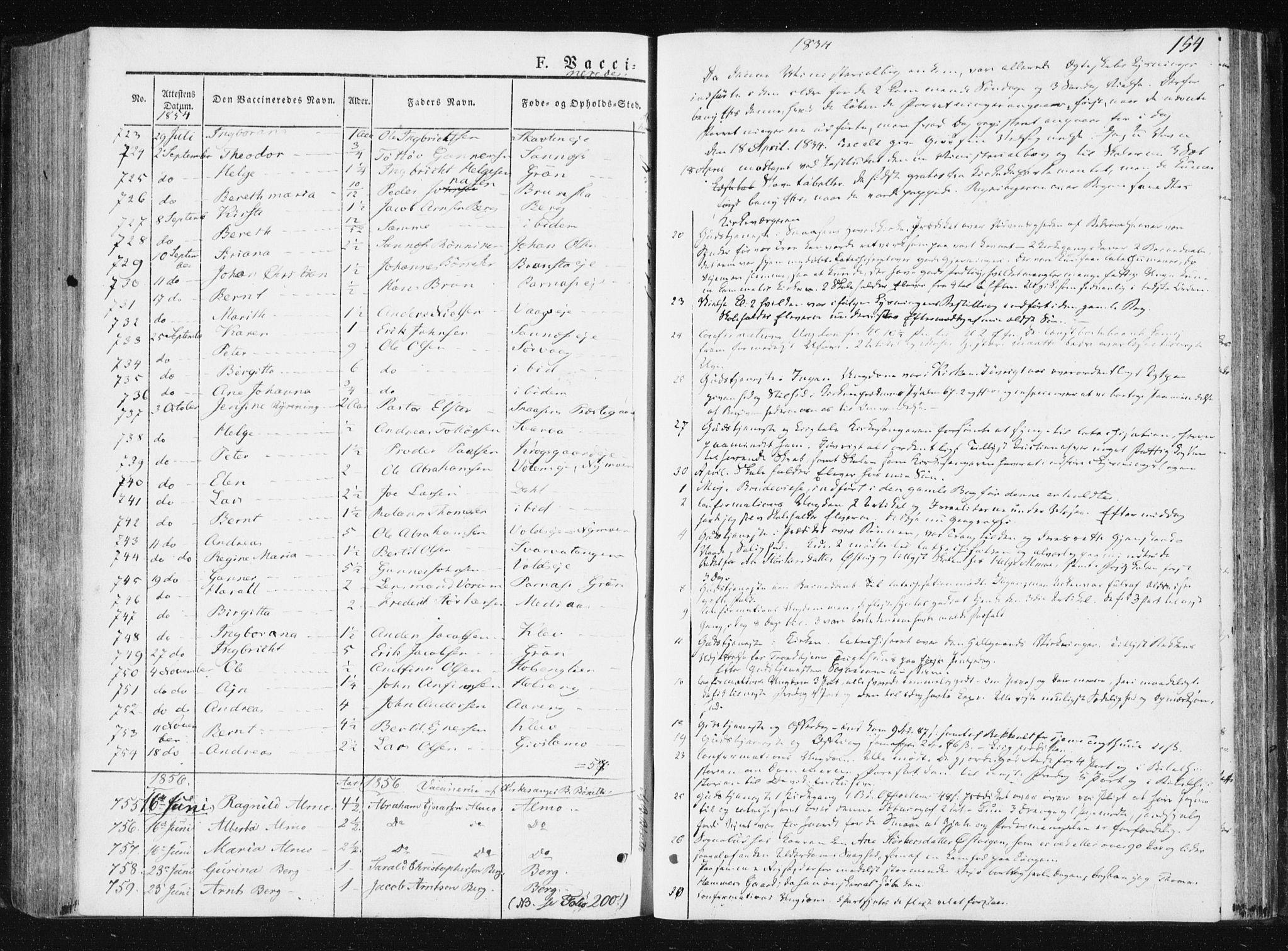 SAT, Ministerialprotokoller, klokkerbøker og fødselsregistre - Nord-Trøndelag, 749/L0470: Ministerialbok nr. 749A04, 1834-1853, s. 154