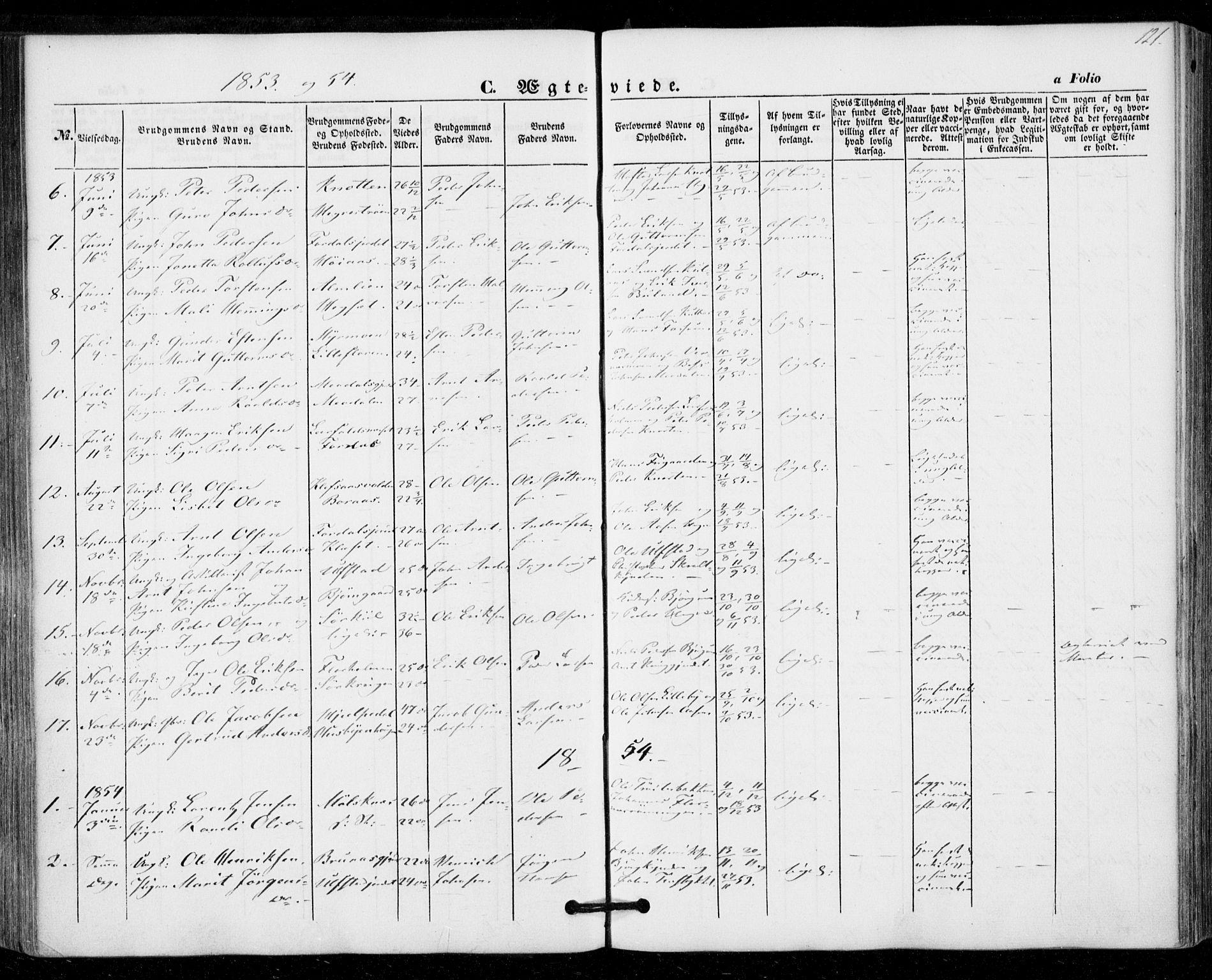 SAT, Ministerialprotokoller, klokkerbøker og fødselsregistre - Nord-Trøndelag, 703/L0028: Ministerialbok nr. 703A01, 1850-1862, s. 121