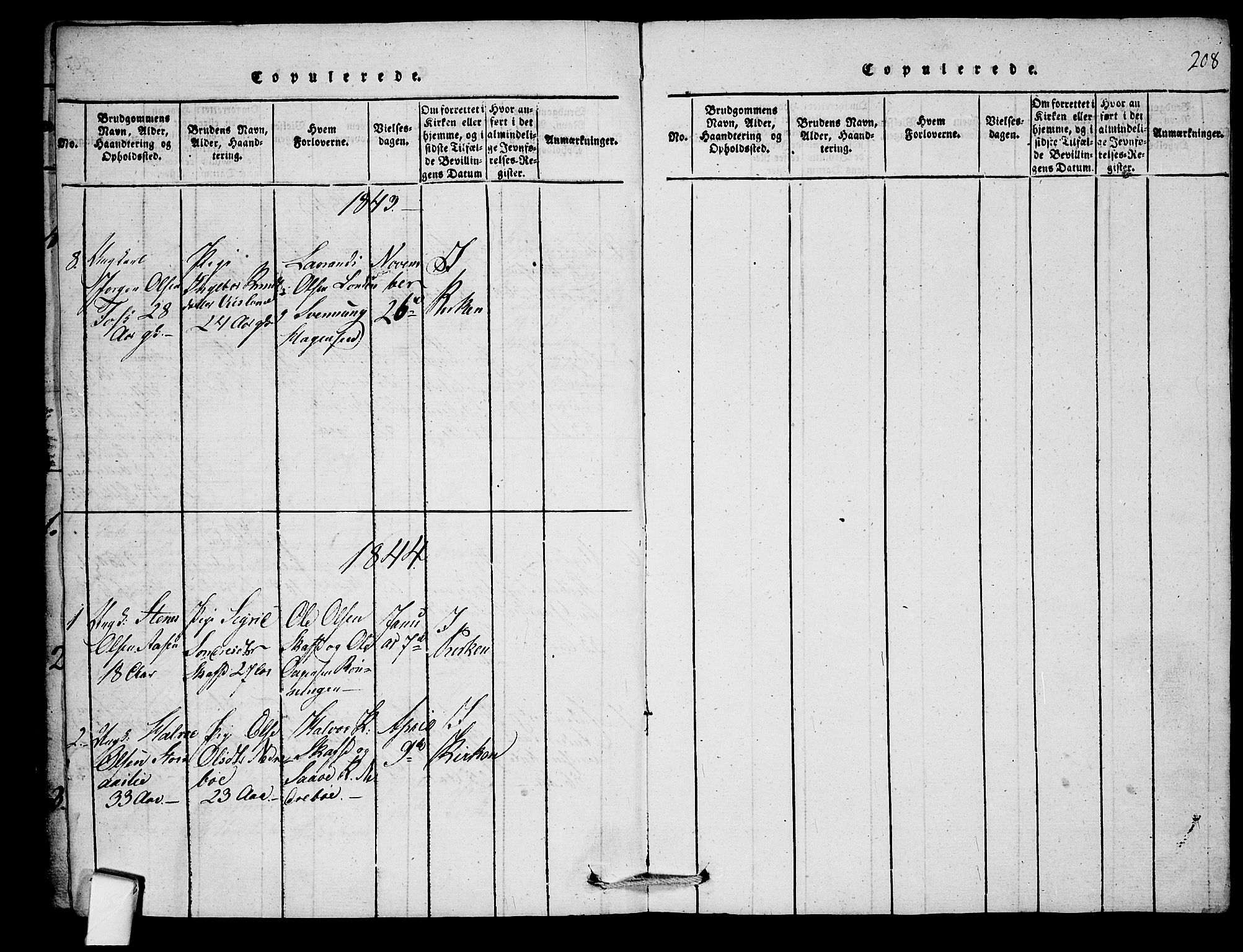 SAKO, Mo kirkebøker, F/Fb/L0001: Ministerialbok nr. II 1, 1814-1844, s. 208