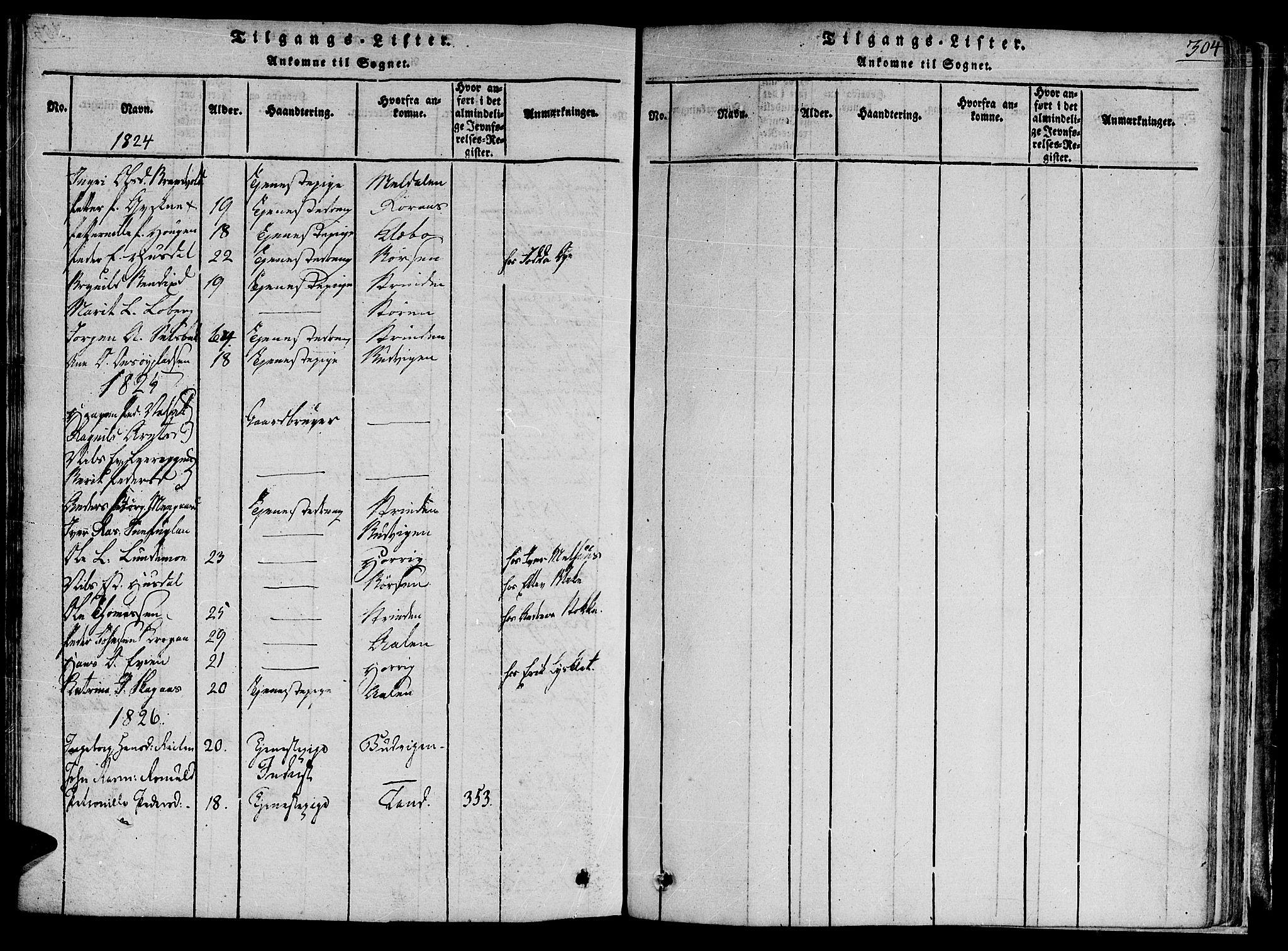 SAT, Ministerialprotokoller, klokkerbøker og fødselsregistre - Sør-Trøndelag, 691/L1065: Ministerialbok nr. 691A03 /1, 1816-1826, s. 304