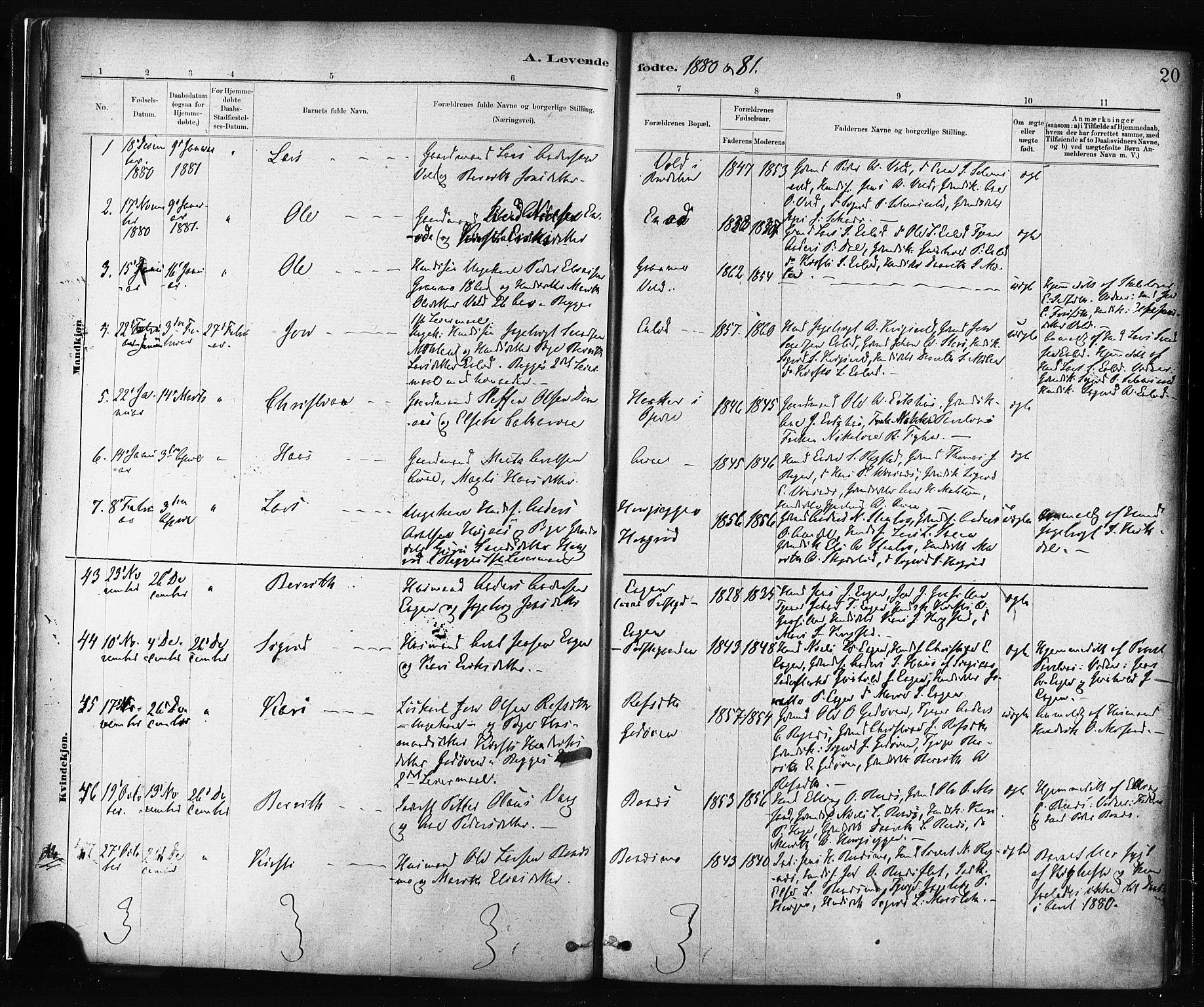 SAT, Ministerialprotokoller, klokkerbøker og fødselsregistre - Sør-Trøndelag, 687/L1002: Ministerialbok nr. 687A08, 1878-1890, s. 20