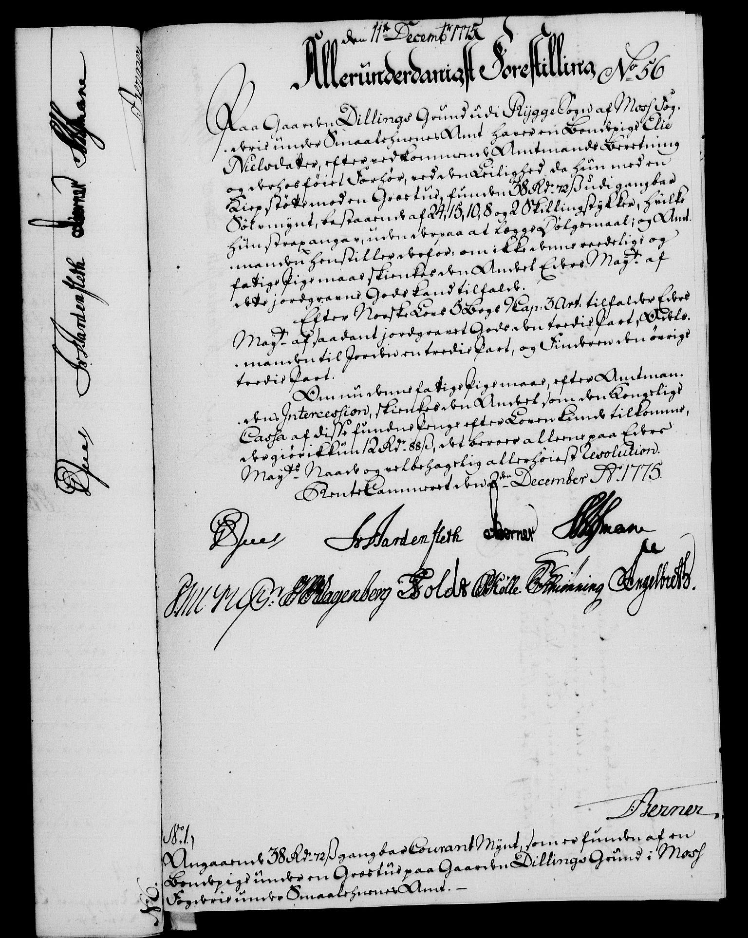 RA, Rentekammeret, Kammerkanselliet, G/Gf/Gfa/L0057: Norsk relasjons- og resolusjonsprotokoll (merket RK 52.57), 1775, s. 217