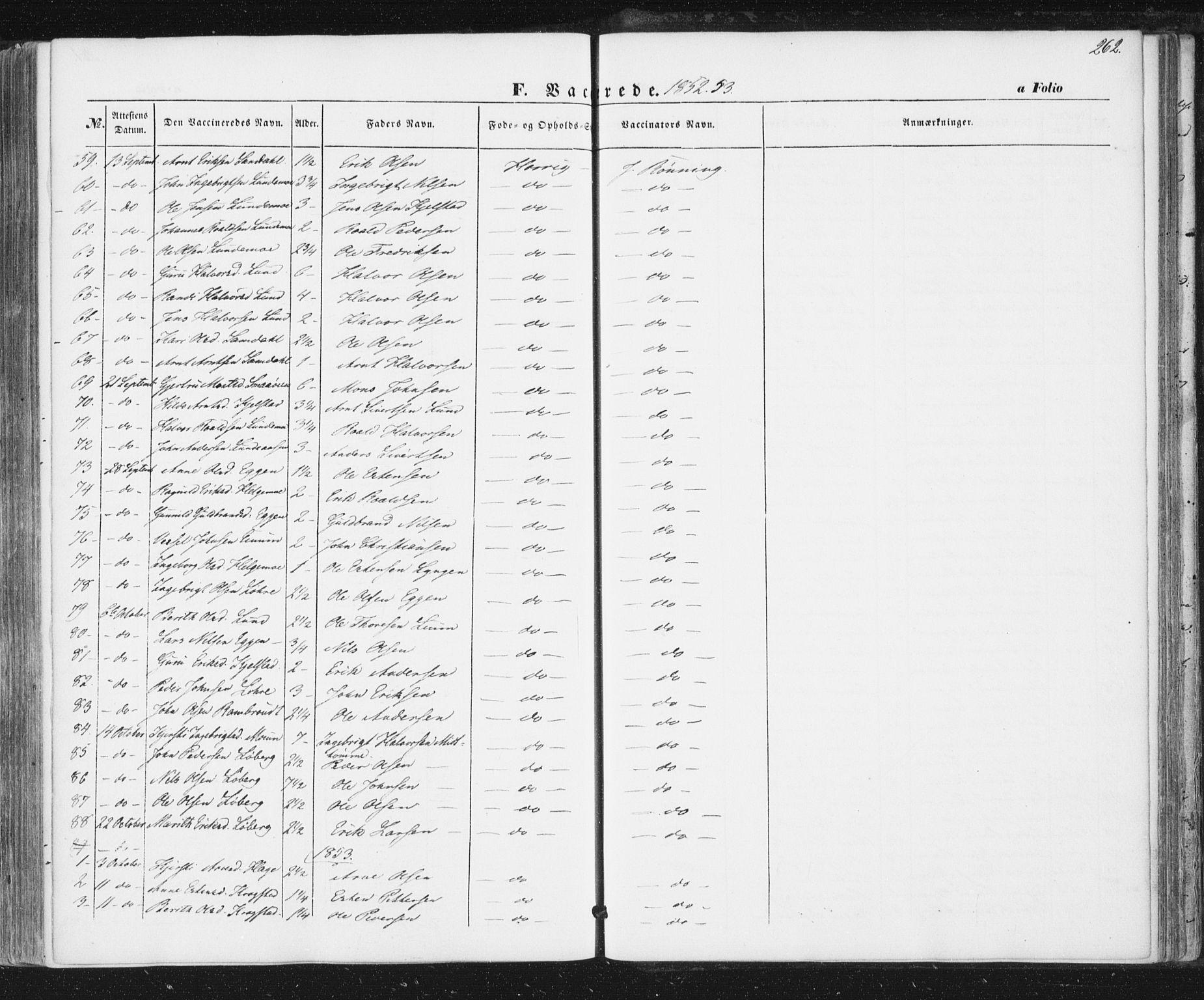 SAT, Ministerialprotokoller, klokkerbøker og fødselsregistre - Sør-Trøndelag, 692/L1103: Ministerialbok nr. 692A03, 1849-1870, s. 262
