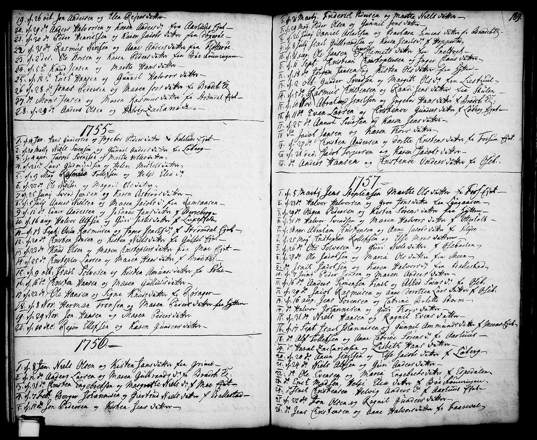 SAKO, Gjerpen kirkebøker, F/Fa/L0002: Ministerialbok nr. 2, 1747-1795, s. 189