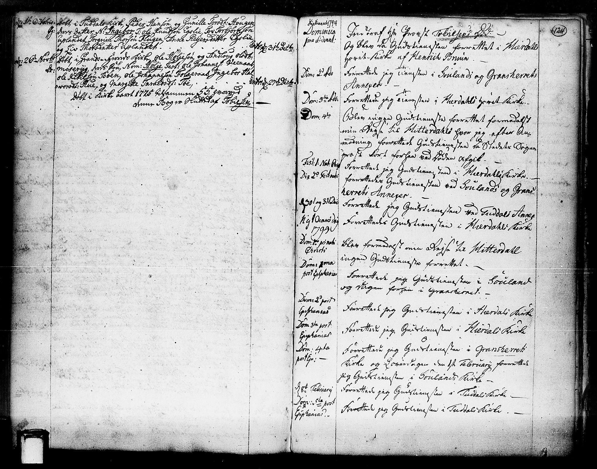 SAKO, Hjartdal kirkebøker, F/Fa/L0003: Ministerialbok nr. I 3, 1727-1775, s. 124