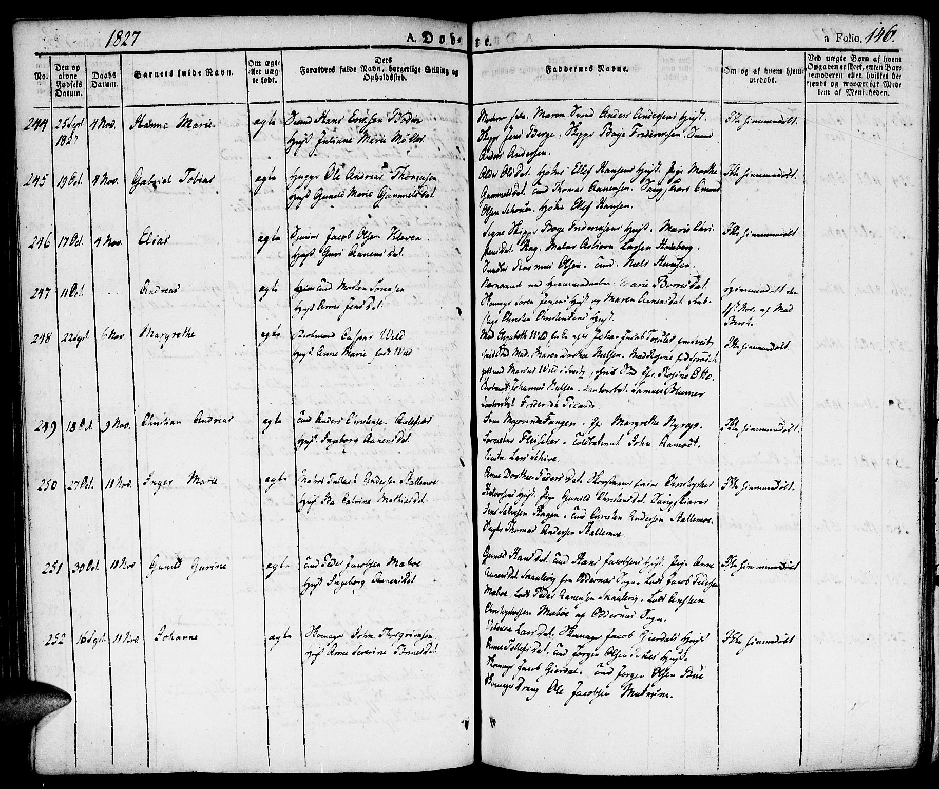 SAK, Kristiansand domprosti, F/Fa/L0009: Ministerialbok nr. A 9, 1821-1827, s. 146