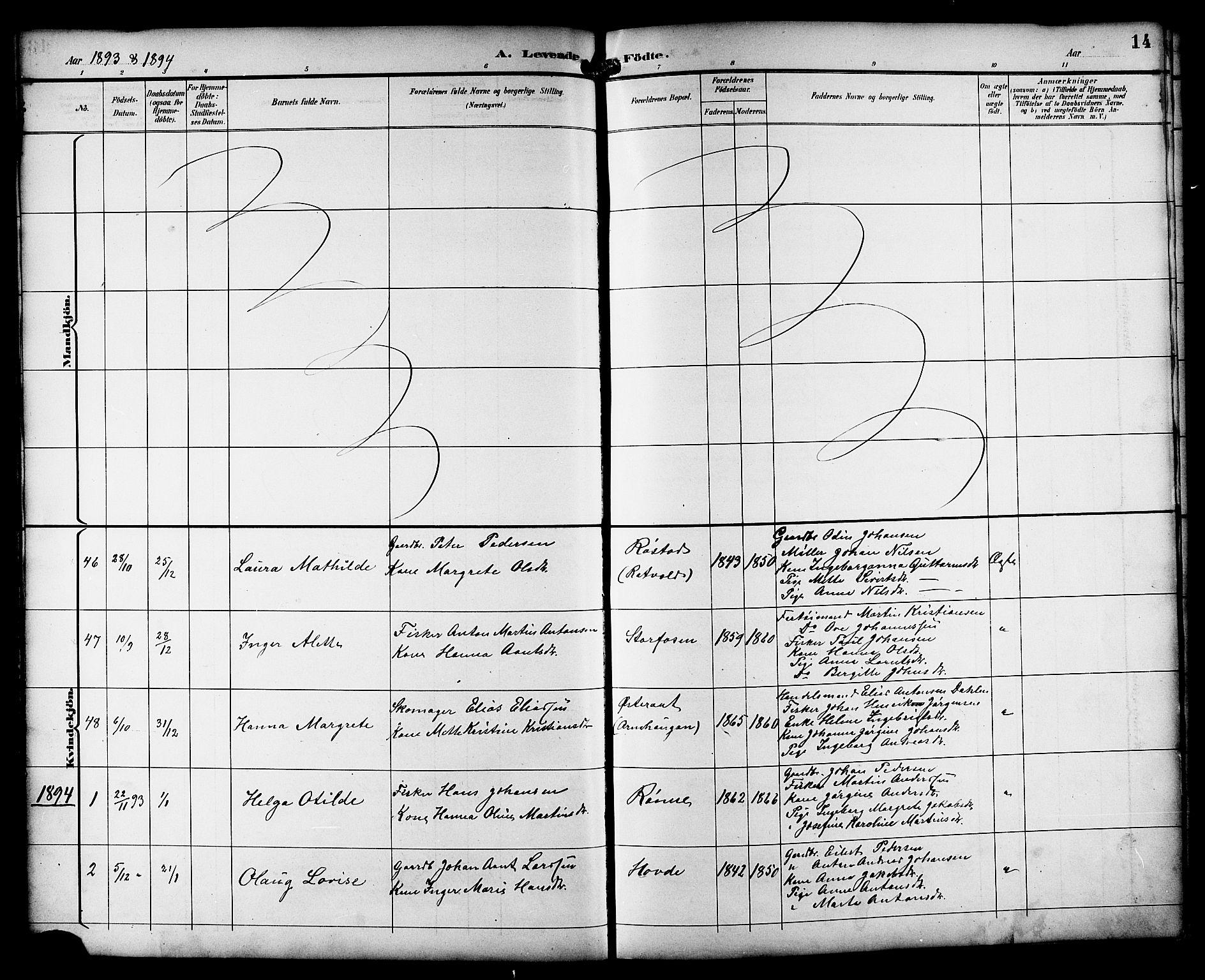 SAT, Ministerialprotokoller, klokkerbøker og fødselsregistre - Sør-Trøndelag, 659/L0746: Klokkerbok nr. 659C03, 1893-1912, s. 14