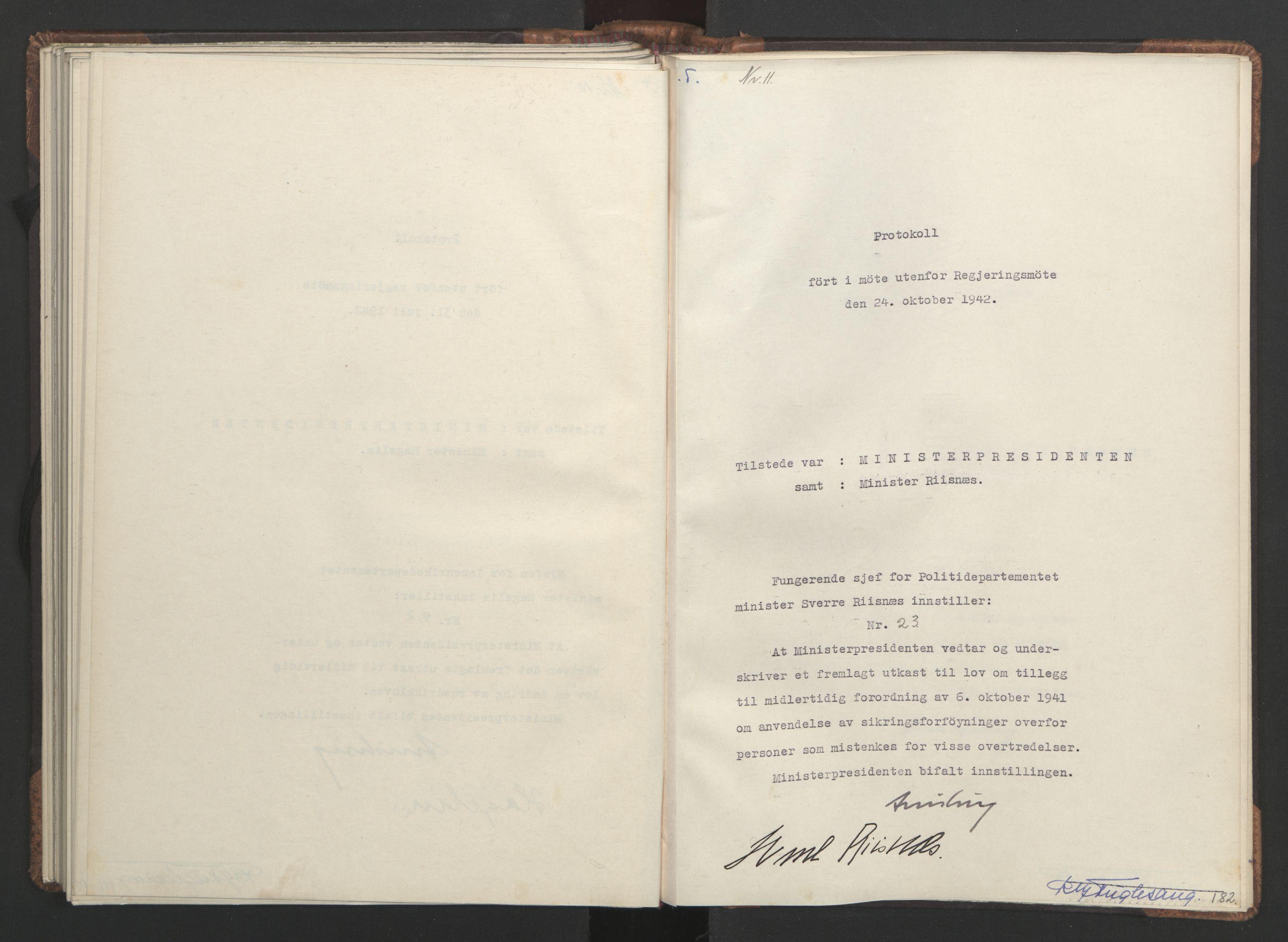RA, NS-administrasjonen 1940-1945 (Statsrådsekretariatet, de kommisariske statsråder mm), D/Da/L0001: Beslutninger og tillegg (1-952 og 1-32), 1942, s. 181b-182a