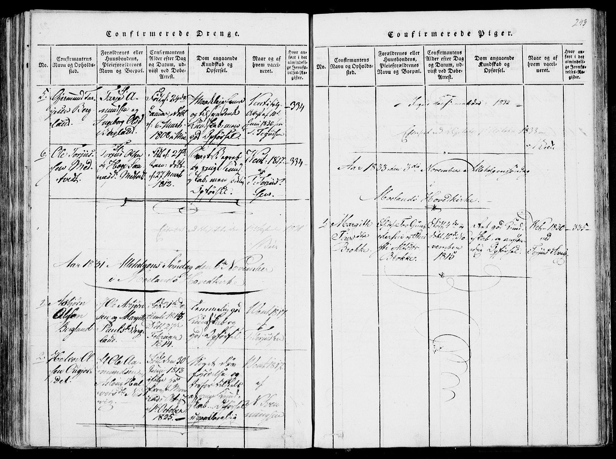 SAKO, Fyresdal kirkebøker, F/Fa/L0004: Ministerialbok nr. I 4, 1815-1854, s. 243