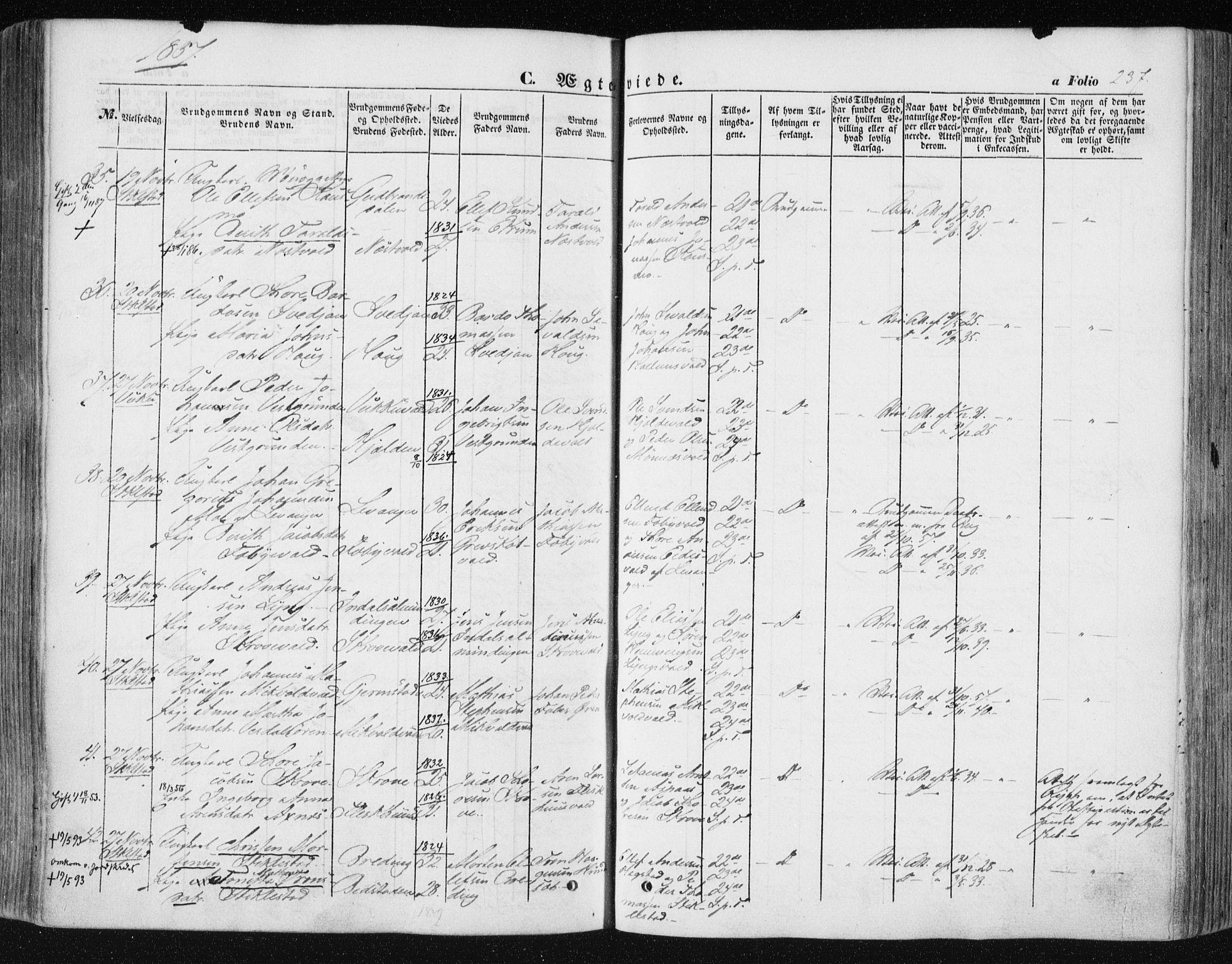 SAT, Ministerialprotokoller, klokkerbøker og fødselsregistre - Nord-Trøndelag, 723/L0240: Ministerialbok nr. 723A09, 1852-1860, s. 237