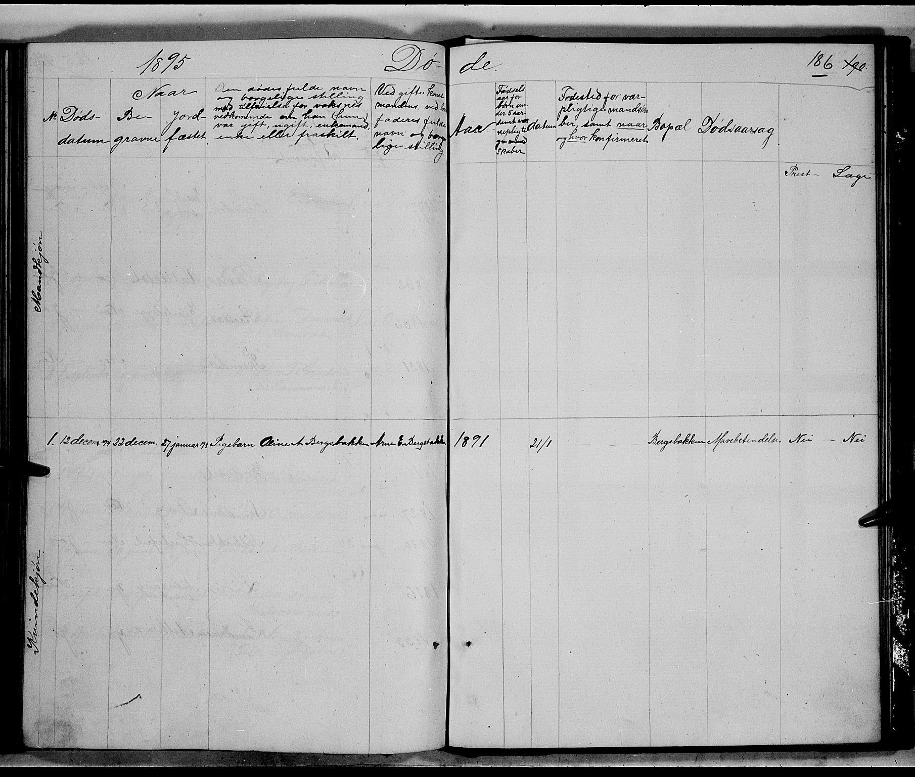 SAH, Nord-Aurdal prestekontor, Klokkerbok nr. 5, 1876-1895, s. 186