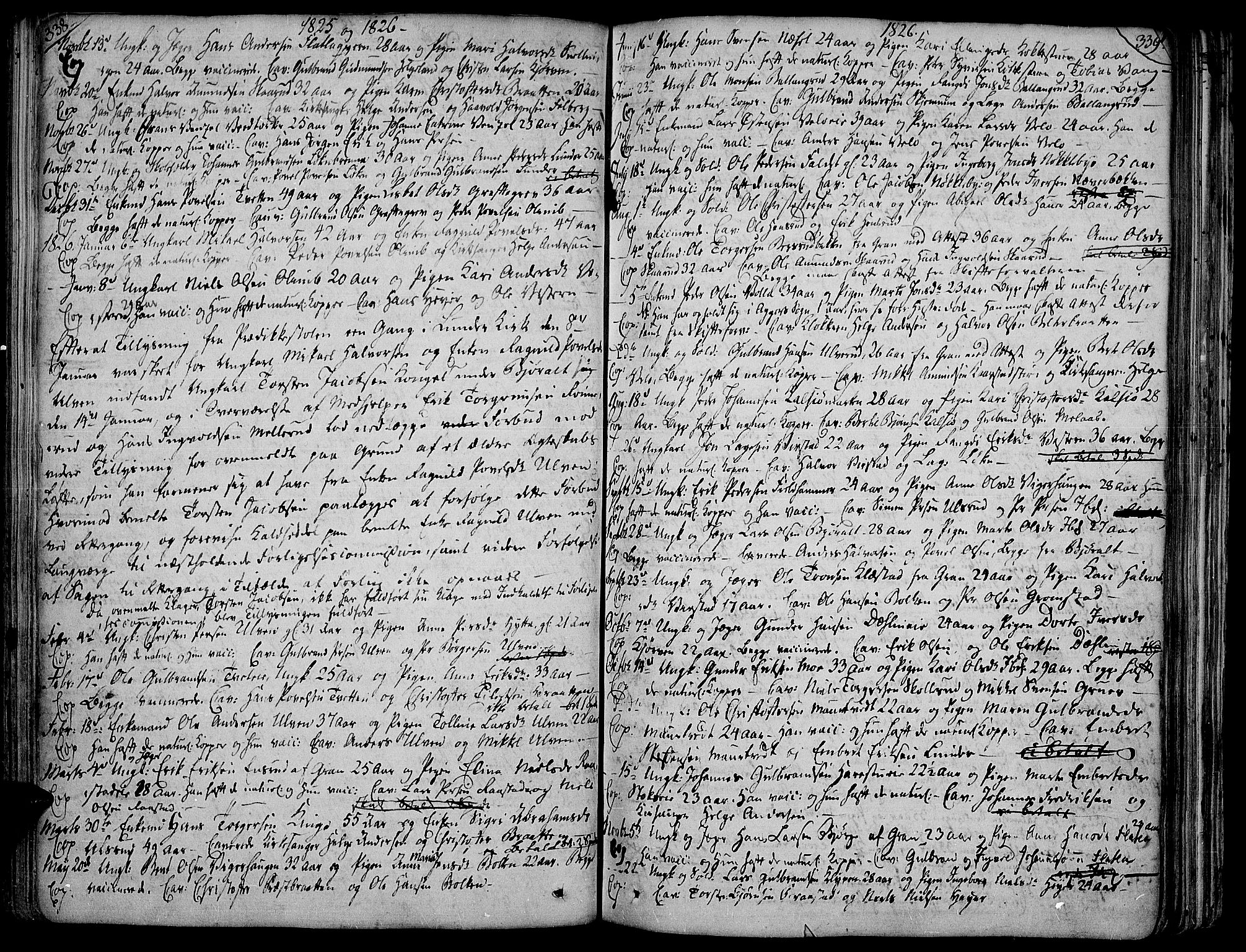 SAH, Jevnaker prestekontor, Ministerialbok nr. 4, 1800-1861, s. 338-339