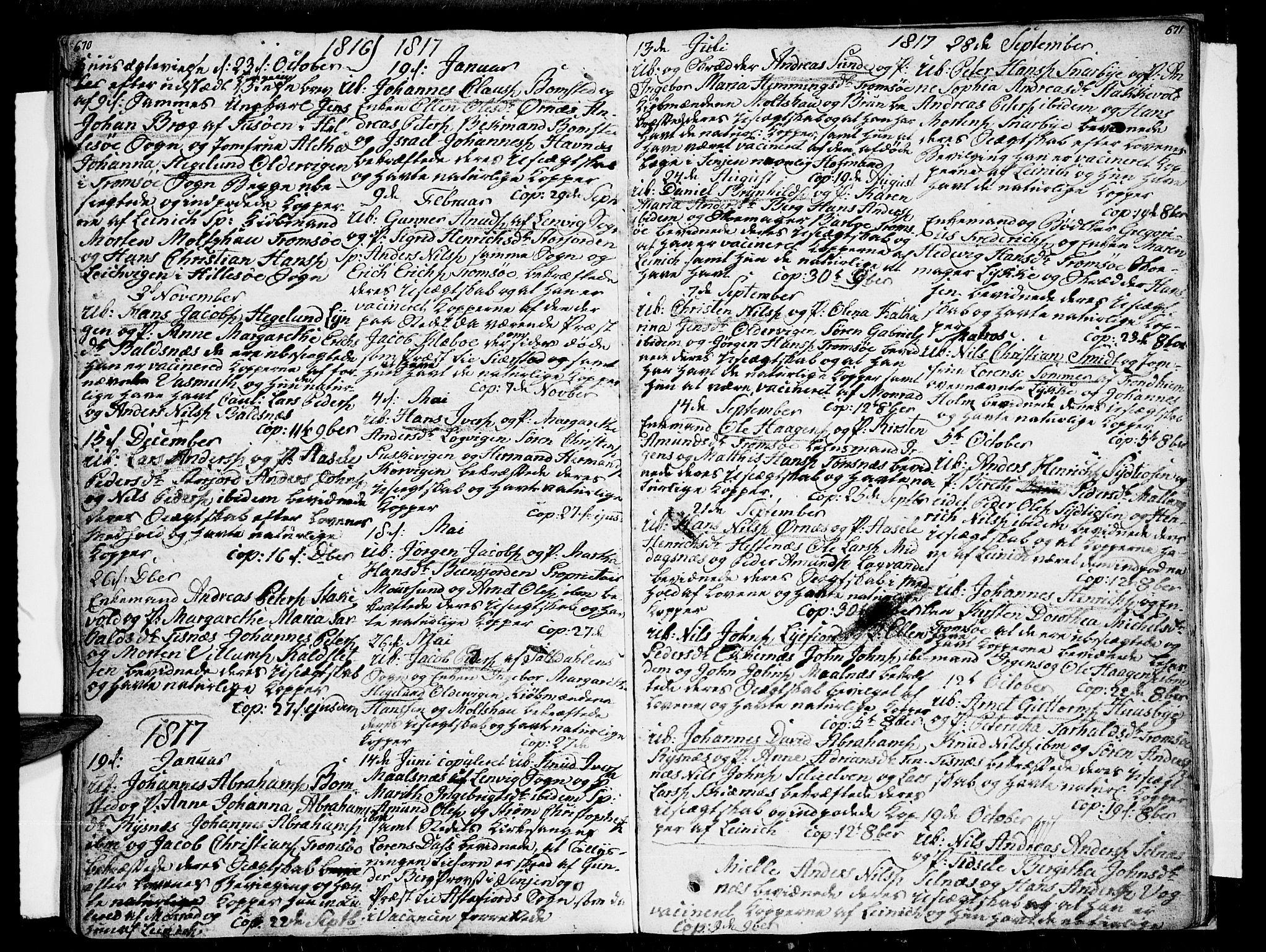 SATØ, Tromsø sokneprestkontor/stiftsprosti/domprosti, G/Ga/L0006kirke: Ministerialbok nr. 6, 1806-1821, s. 670-671