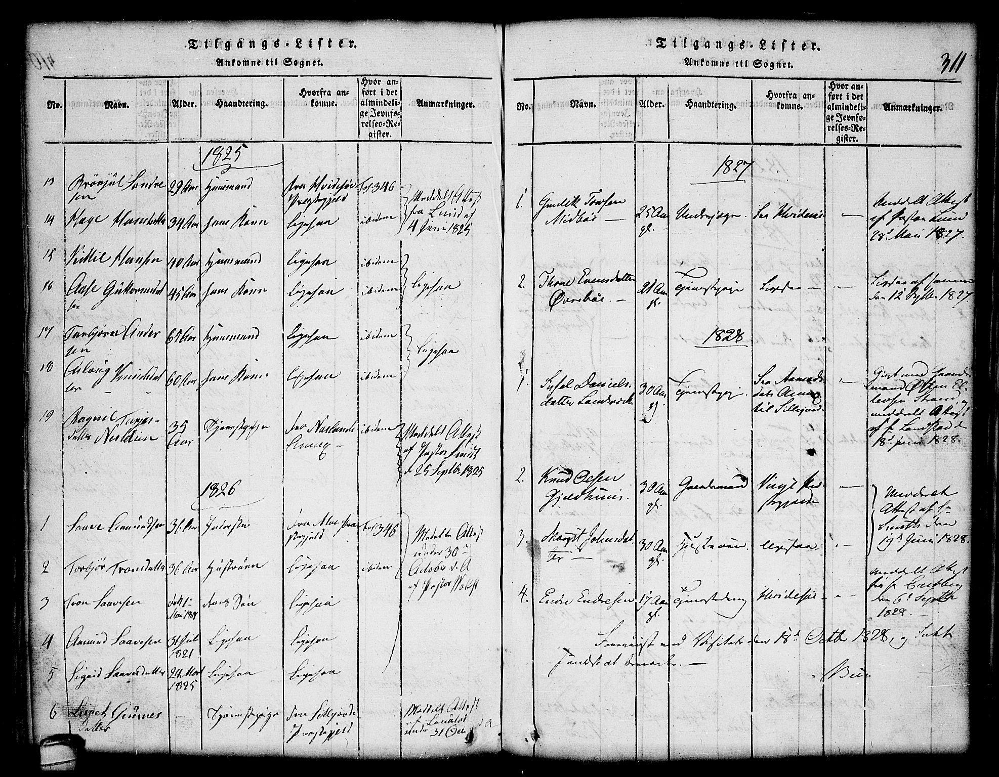 SAKO, Lårdal kirkebøker, G/Gc/L0001: Klokkerbok nr. III 1, 1815-1854, s. 311