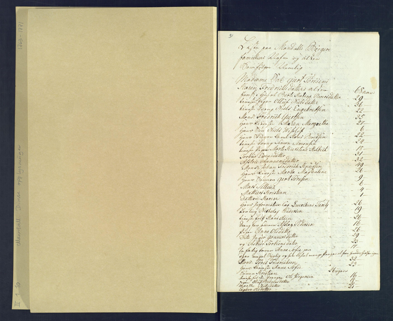 SAK, Holum sokneprestkontor, Andre øvrighetsfunksjoner, nr. 10.8: Liste over Mandals borgere og deres familier (navn og alder) 15. august 1769, 1769, s. 1