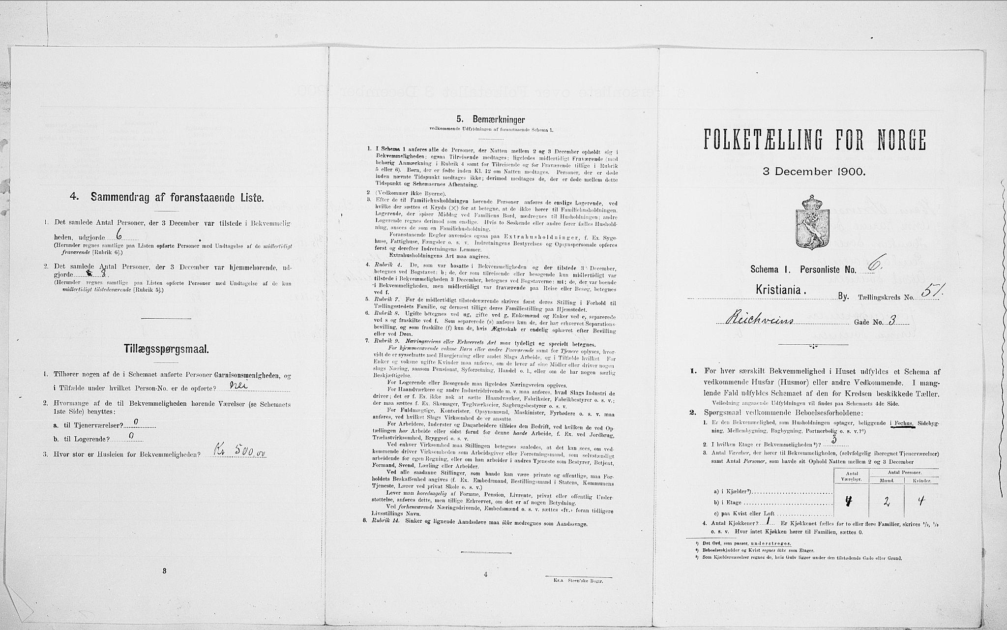 SAO, Folketelling 1900 for 0301 Kristiania kjøpstad, 1900, s. 74538