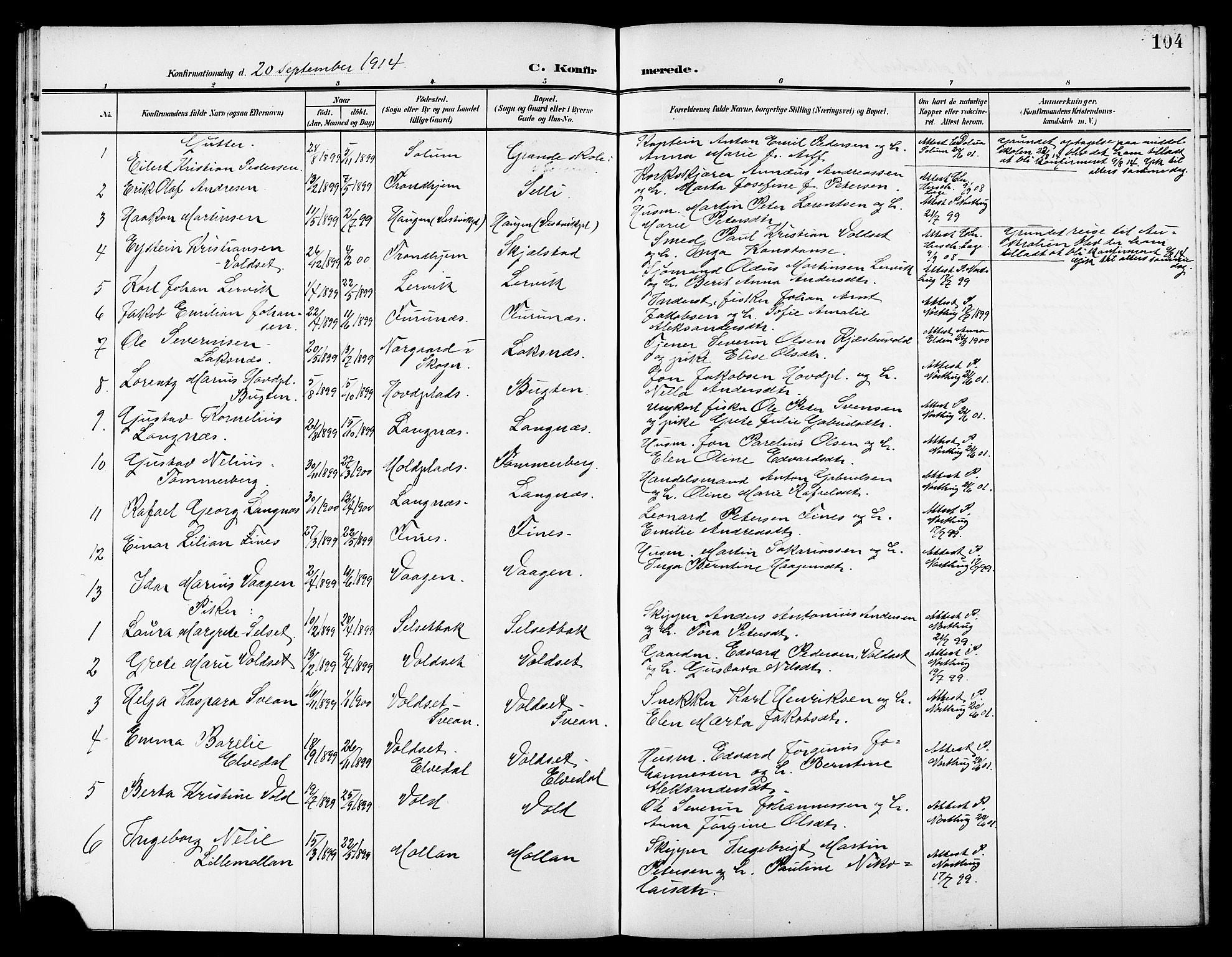 SAT, Ministerialprotokoller, klokkerbøker og fødselsregistre - Nord-Trøndelag, 744/L0424: Klokkerbok nr. 744C03, 1906-1923, s. 104