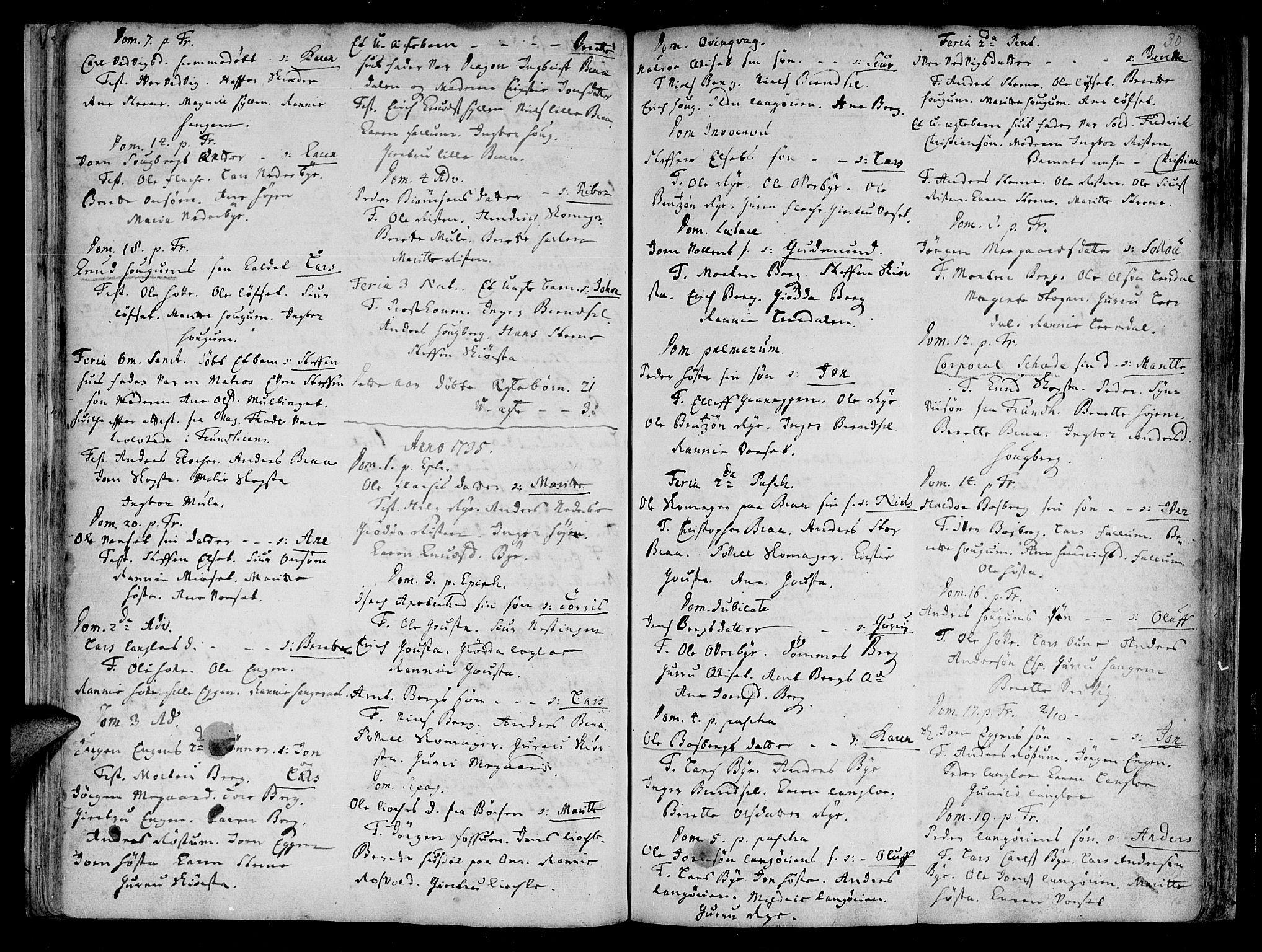 SAT, Ministerialprotokoller, klokkerbøker og fødselsregistre - Sør-Trøndelag, 612/L0368: Ministerialbok nr. 612A02, 1702-1753, s. 30