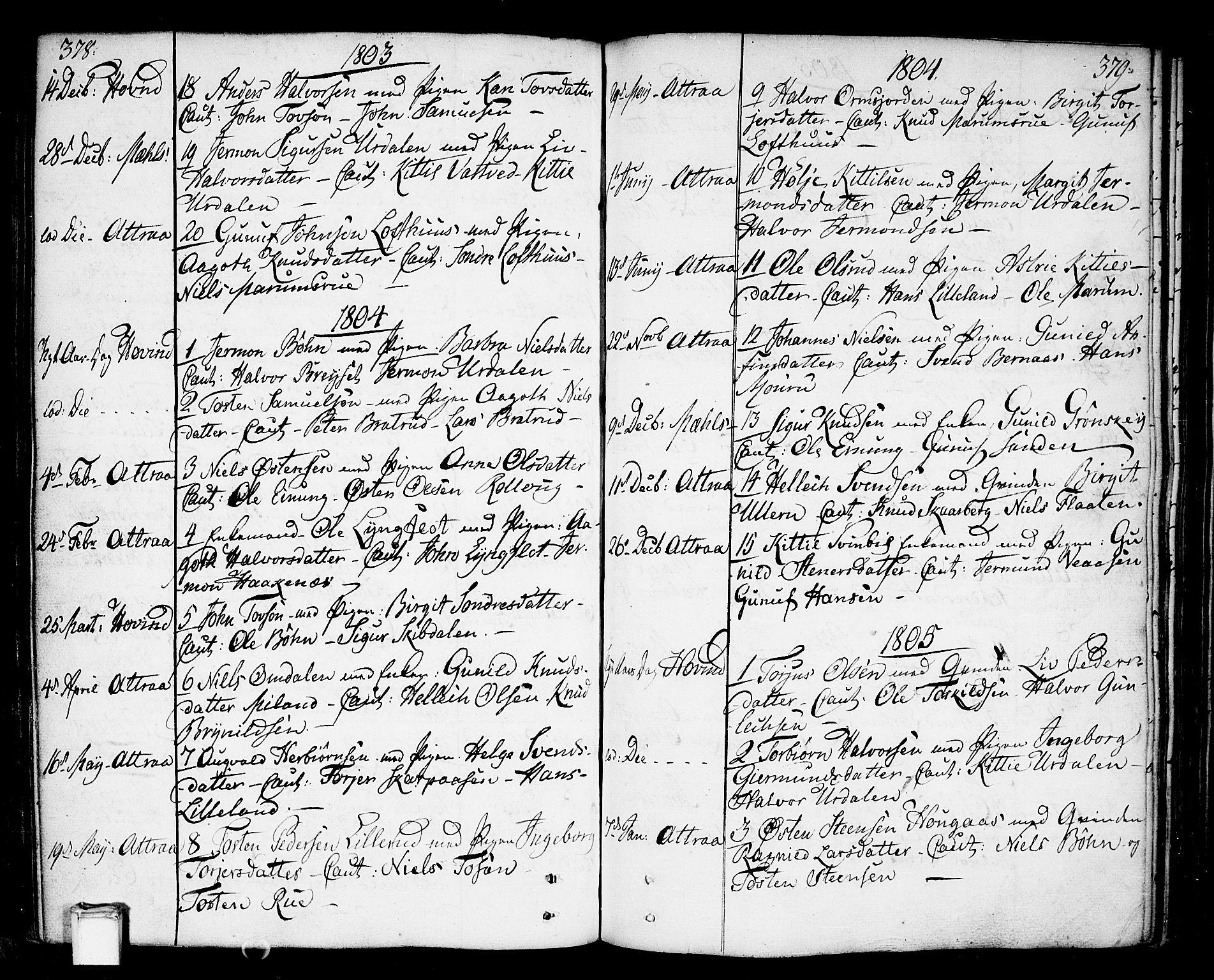 SAKO, Tinn kirkebøker, F/Fa/L0002: Ministerialbok nr. I 2, 1757-1810, s. 378-379