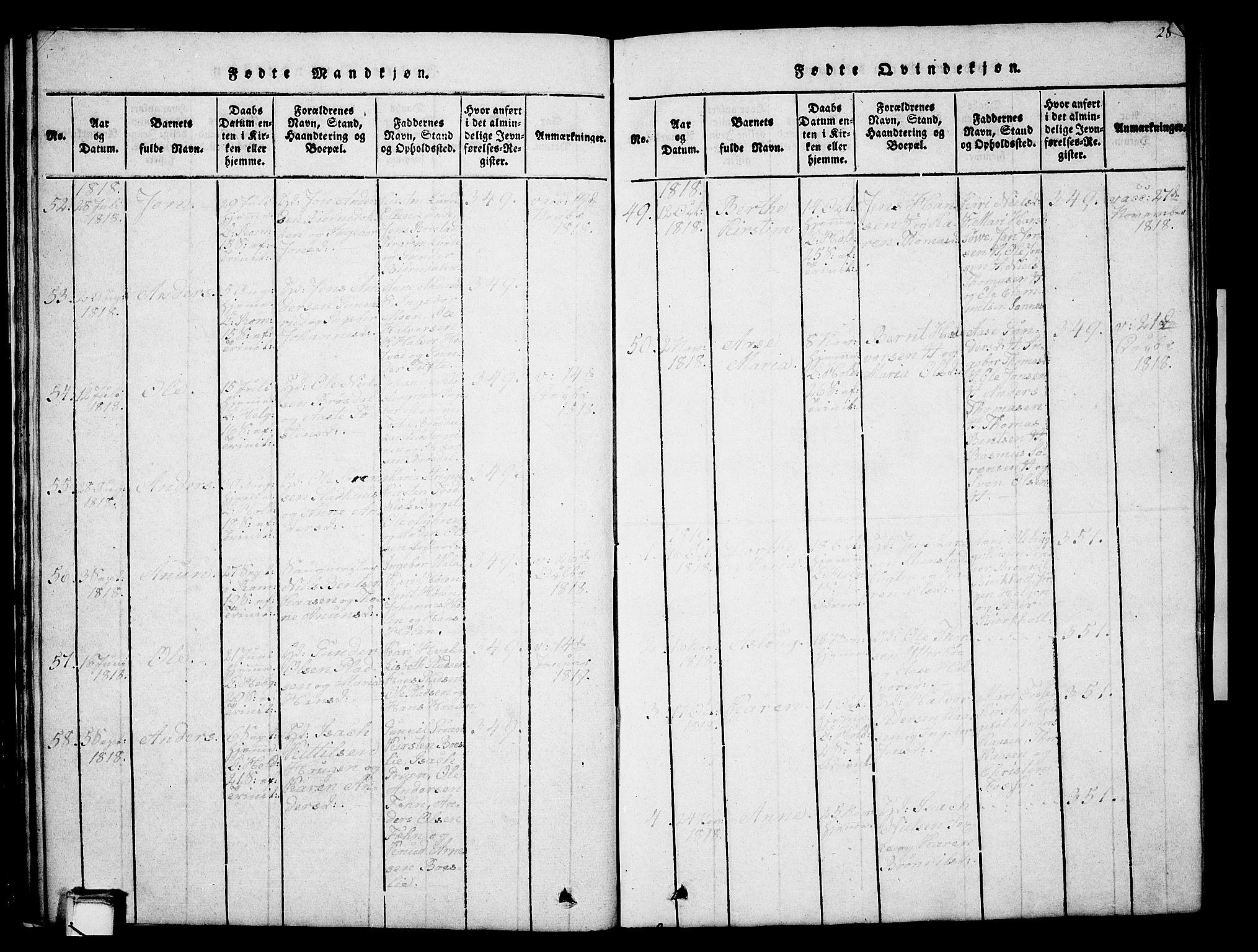 SAKO, Holla kirkebøker, G/Ga/L0001: Klokkerbok nr. I 1, 1814-1830, s. 28
