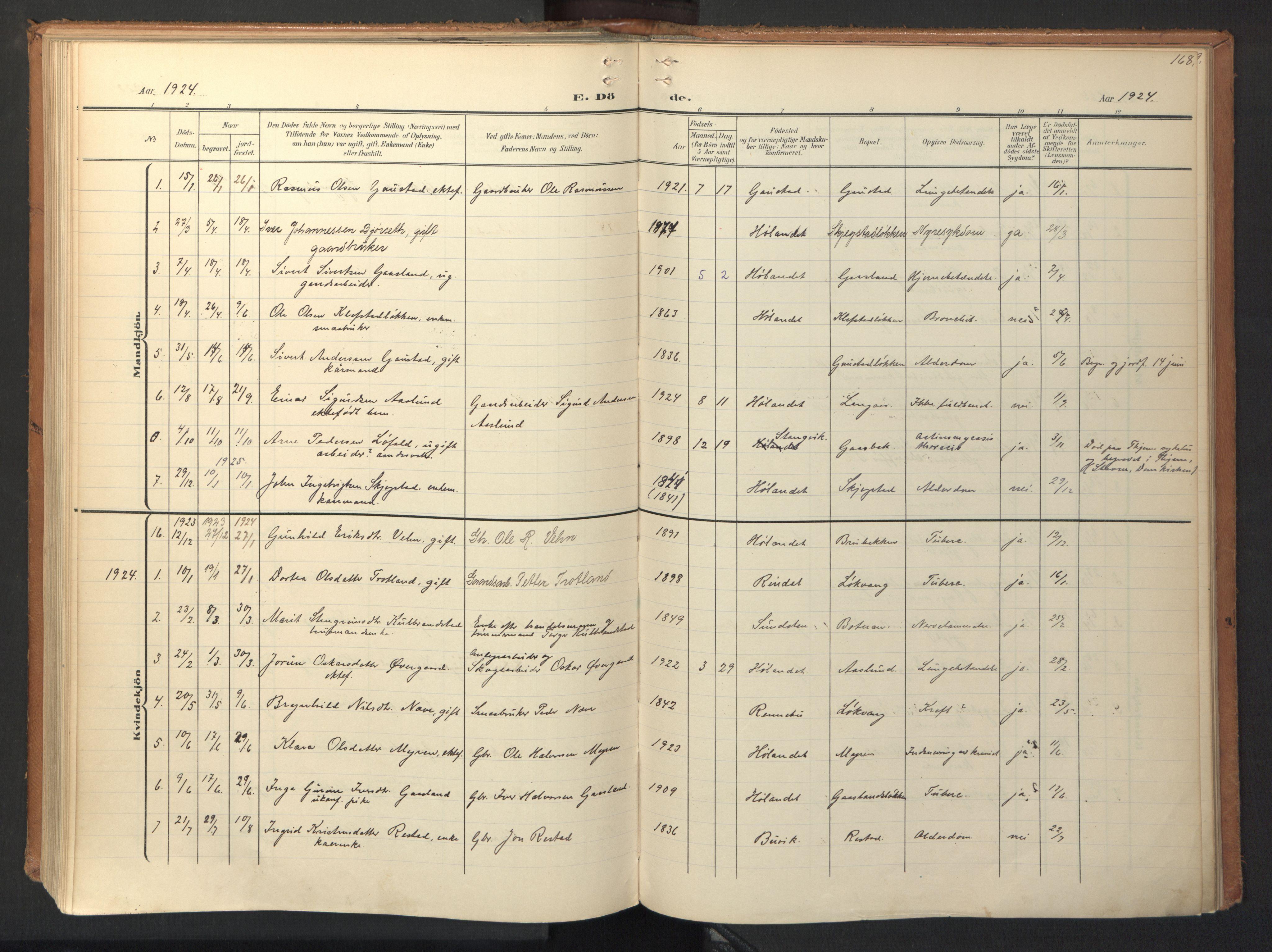 SAT, Ministerialprotokoller, klokkerbøker og fødselsregistre - Sør-Trøndelag, 694/L1128: Ministerialbok nr. 694A02, 1906-1931, s. 168