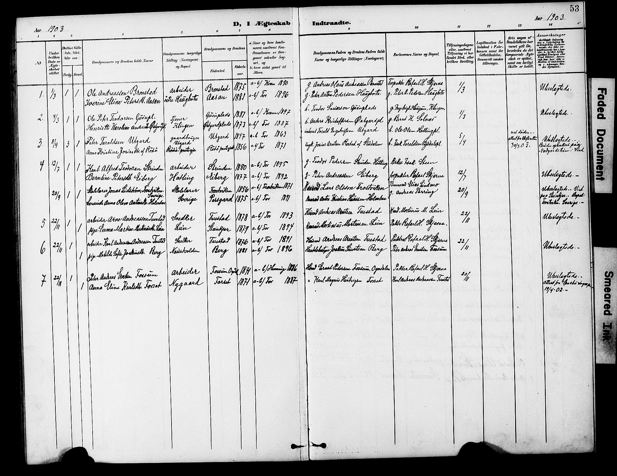 SAT, Ministerialprotokoller, klokkerbøker og fødselsregistre - Nord-Trøndelag, 746/L0452: Ministerialbok nr. 746A09, 1900-1908, s. 53