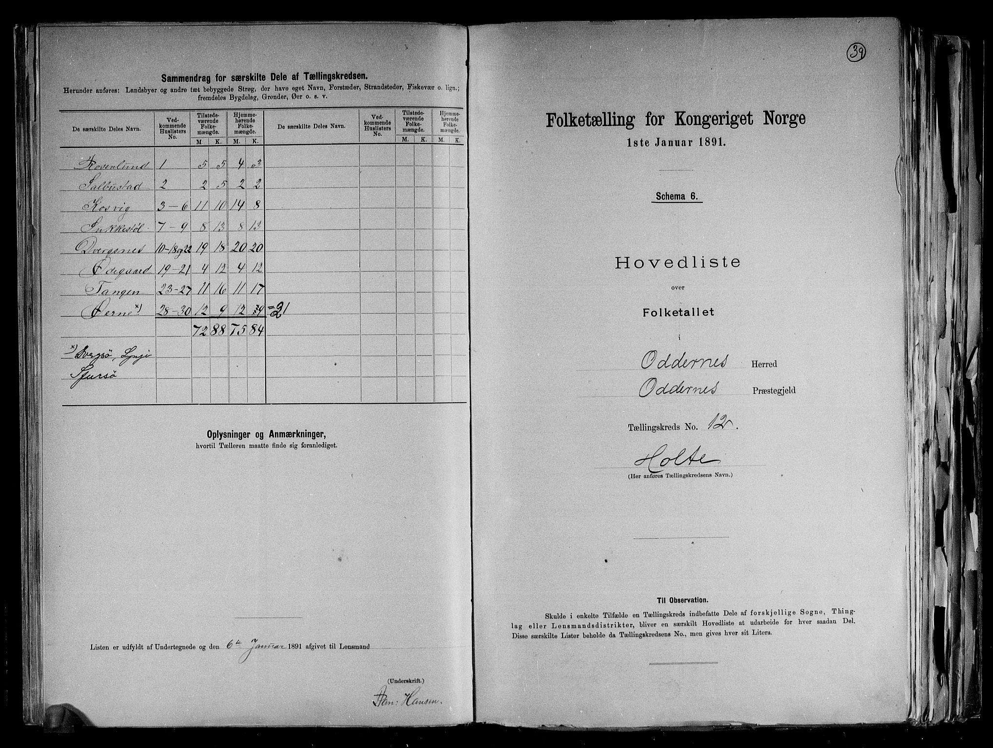 RA, Folketelling 1891 for 1012 Oddernes herred, 1891, s. 27