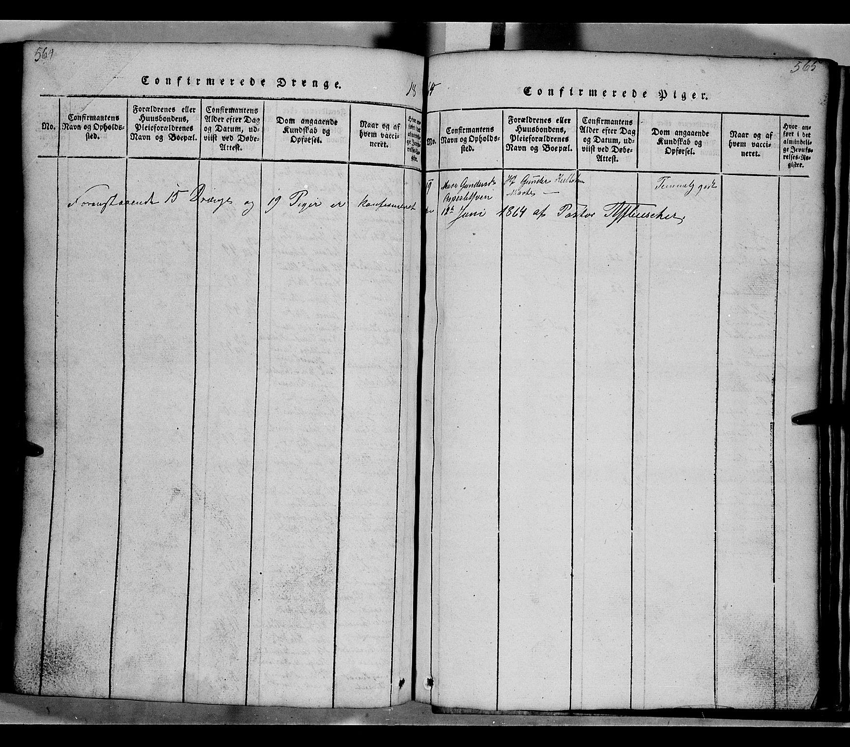 SAH, Gausdal prestekontor, Klokkerbok nr. 2, 1818-1874, s. 564-565