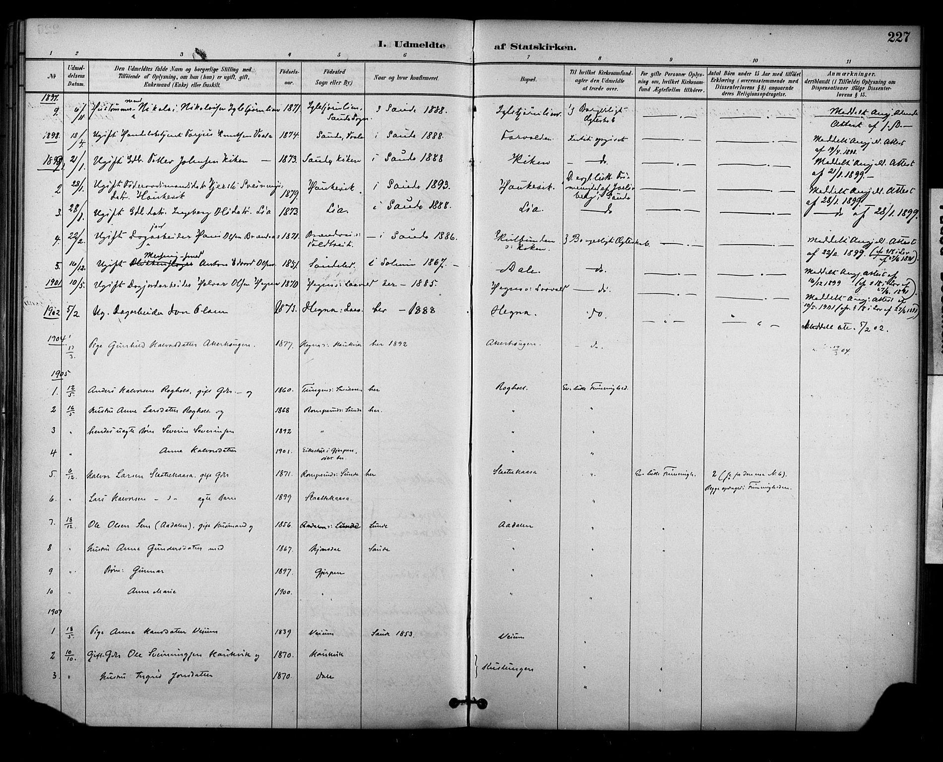 SAKO, Sauherad kirkebøker, F/Fa/L0009: Ministerialbok nr. I 9, 1887-1912, s. 227