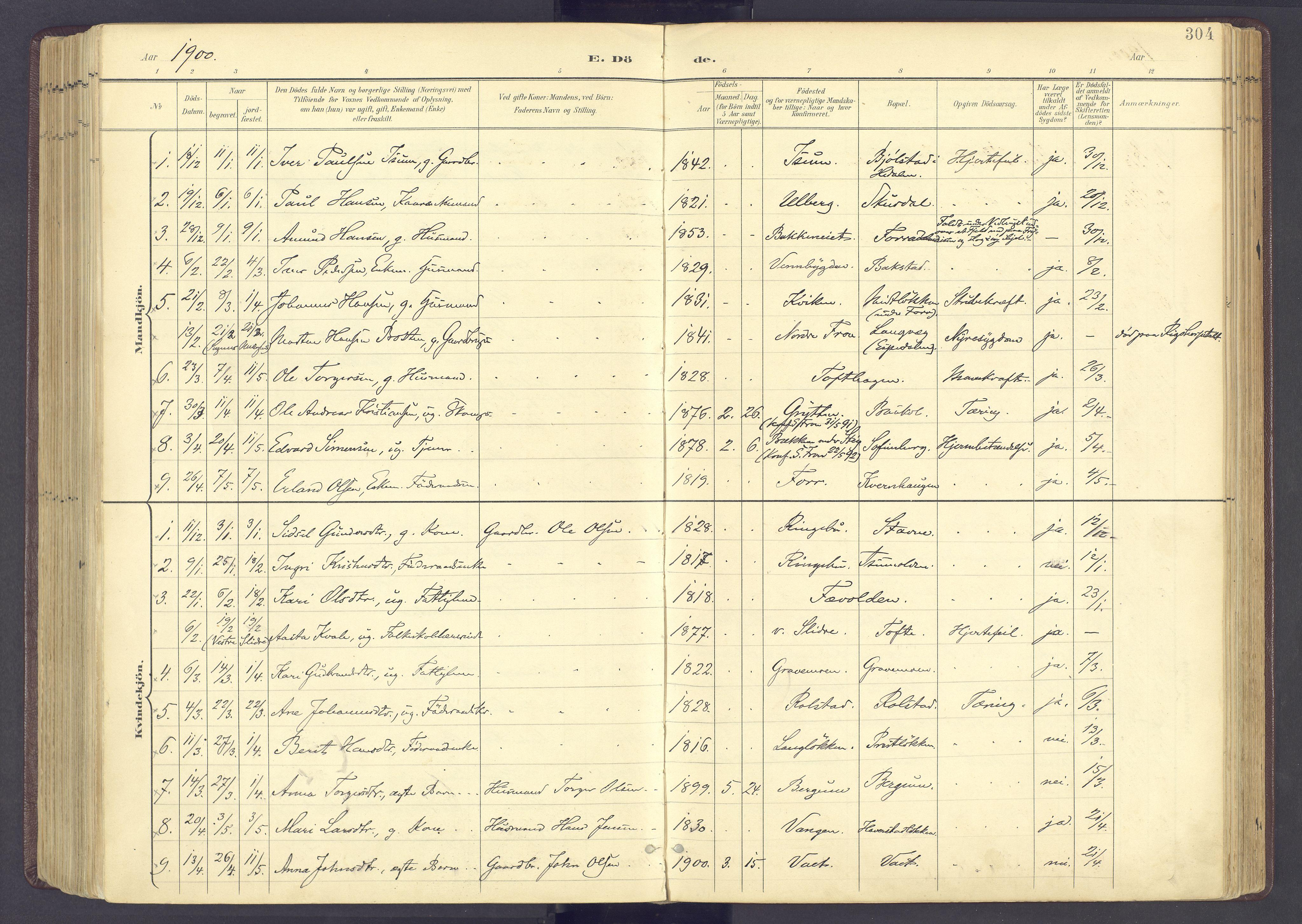 SAH, Sør-Fron prestekontor, H/Ha/Haa/L0004: Ministerialbok nr. 4, 1898-1919, s. 304
