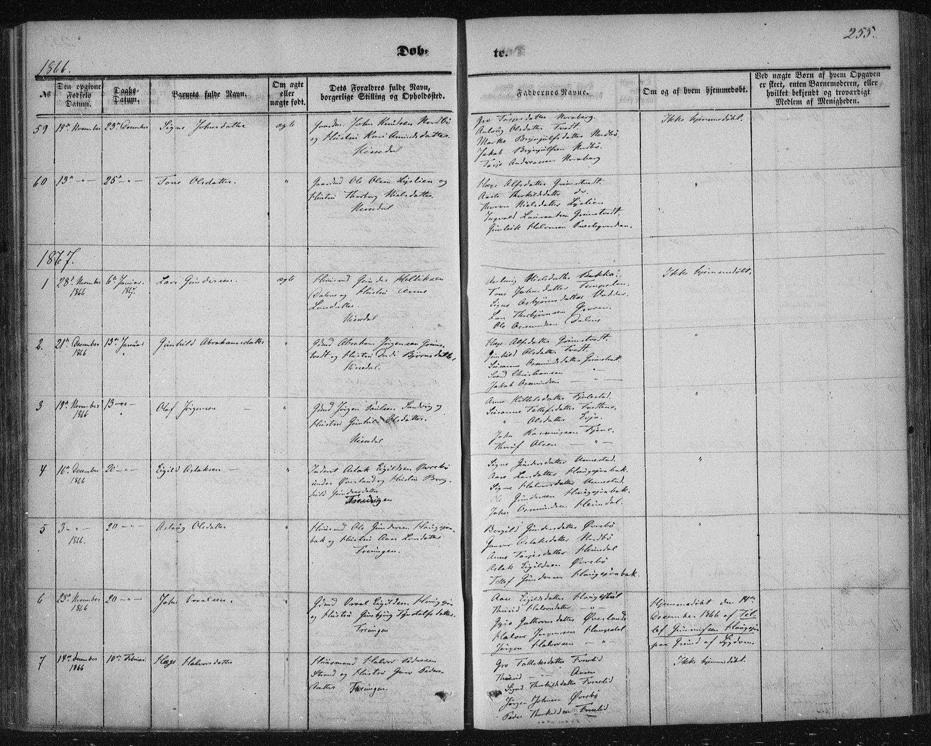 SAKO, Nissedal kirkebøker, F/Fa/L0003: Ministerialbok nr. I 3, 1846-1870, s. 254-255