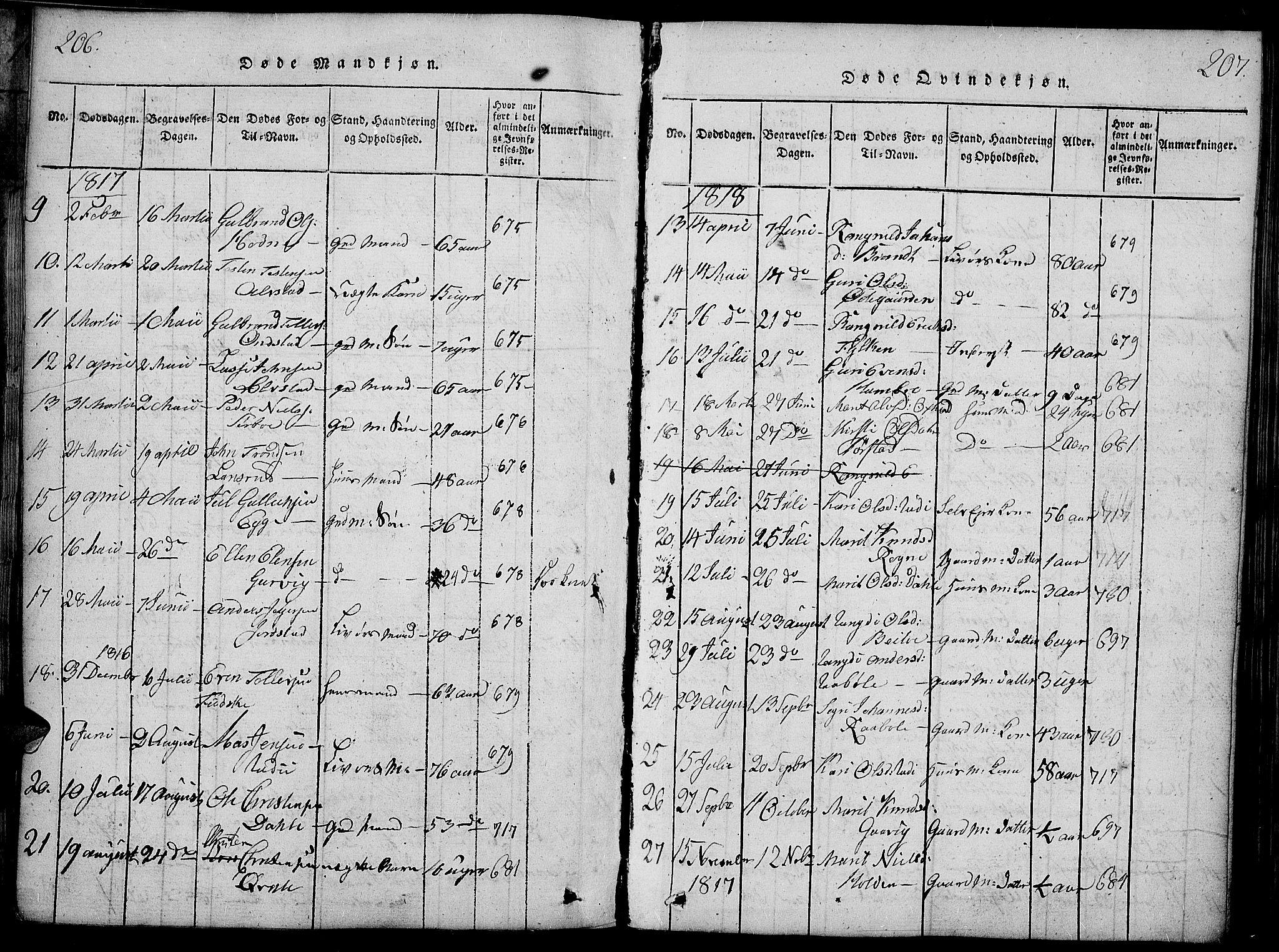 SAH, Slidre prestekontor, Ministerialbok nr. 2, 1814-1830, s. 206-207