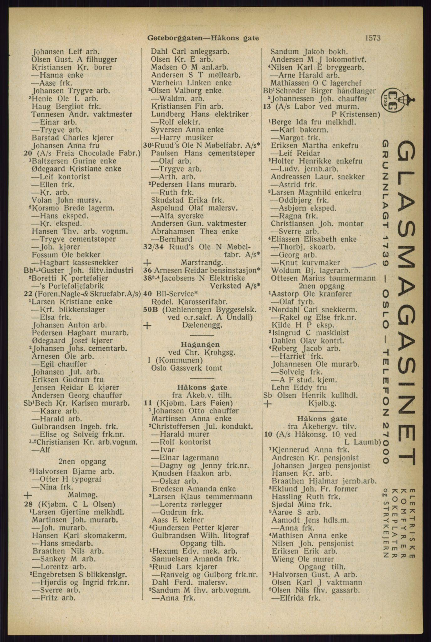 RA, Oslo adressebok (publikasjon)*, 1933, s. 1573