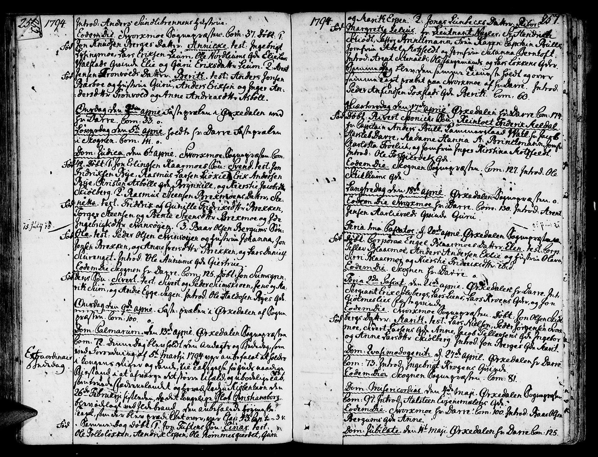 SAT, Ministerialprotokoller, klokkerbøker og fødselsregistre - Sør-Trøndelag, 668/L0802: Ministerialbok nr. 668A02, 1776-1799, s. 256-257