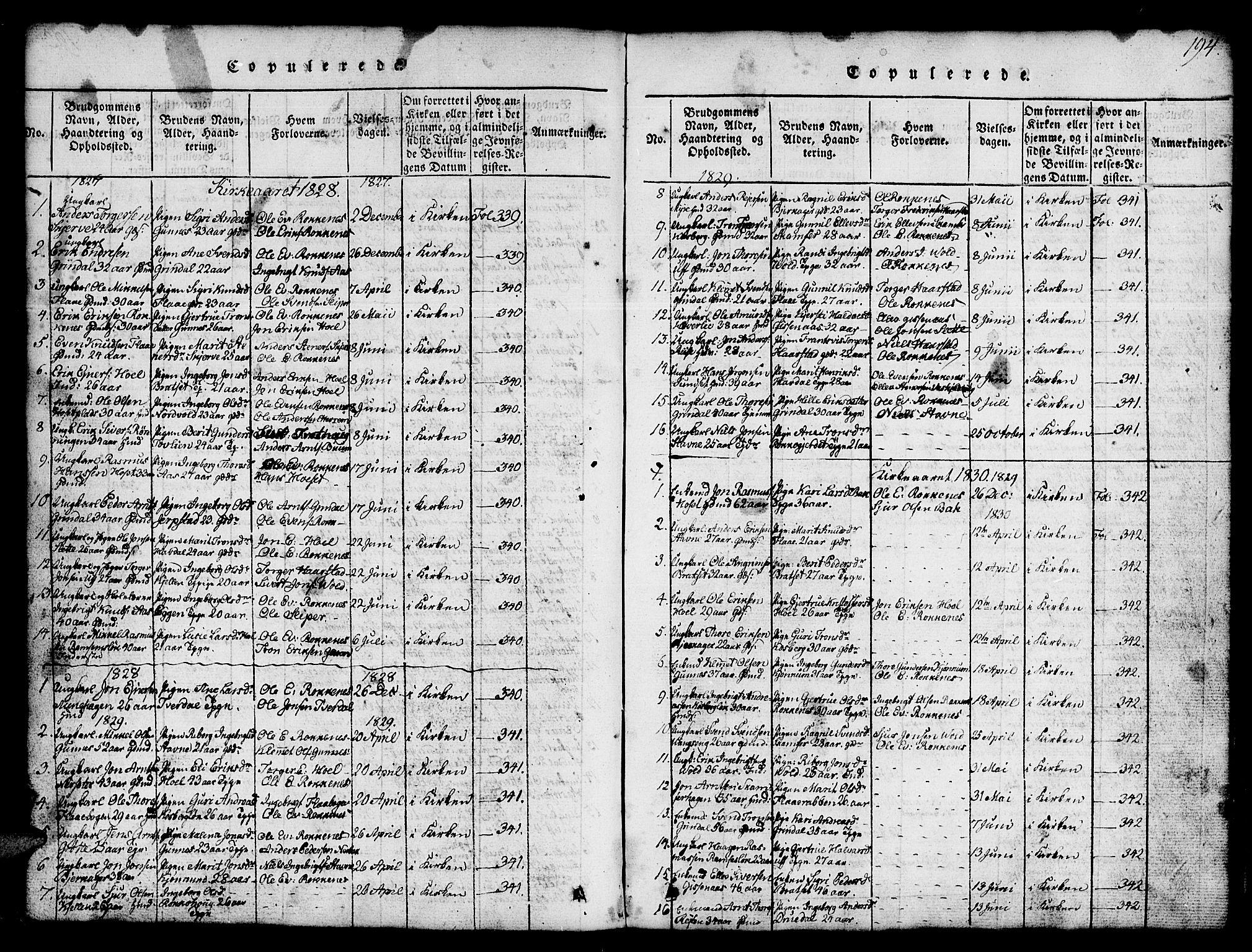 SAT, Ministerialprotokoller, klokkerbøker og fødselsregistre - Sør-Trøndelag, 674/L0874: Klokkerbok nr. 674C01, 1816-1860, s. 194