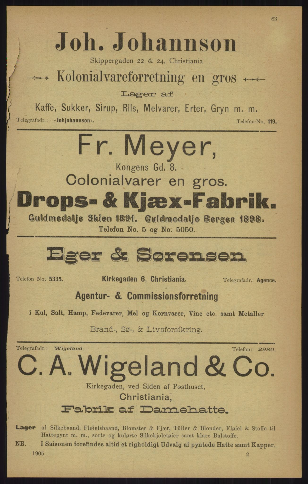RA, Kristiania adressebok (publikasjon)*, 1905, s. 83