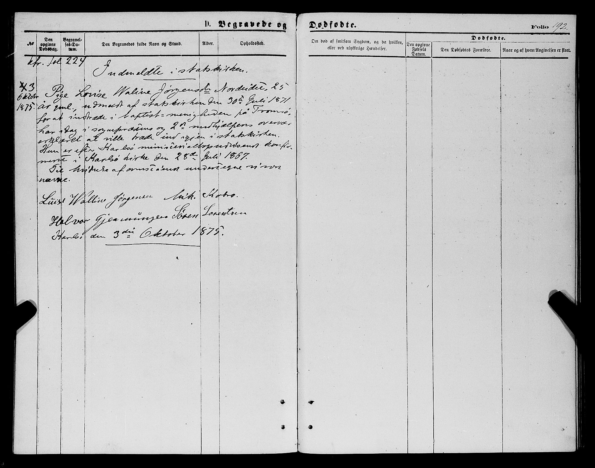 SATØ, Karlsøy sokneprestembete, H/Ha/Haa/L0005kirke: Ministerialbok nr. 5, 1872-1878, s. 192