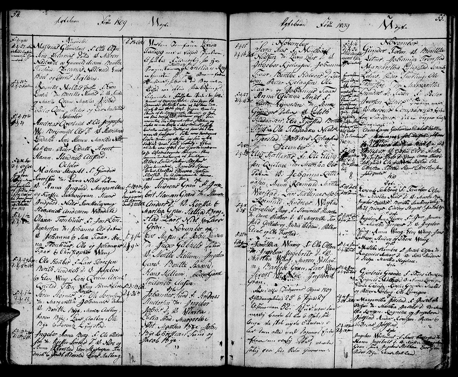 SAT, Ministerialprotokoller, klokkerbøker og fødselsregistre - Nord-Trøndelag, 730/L0274: Ministerialbok nr. 730A03, 1802-1816, s. 54-55