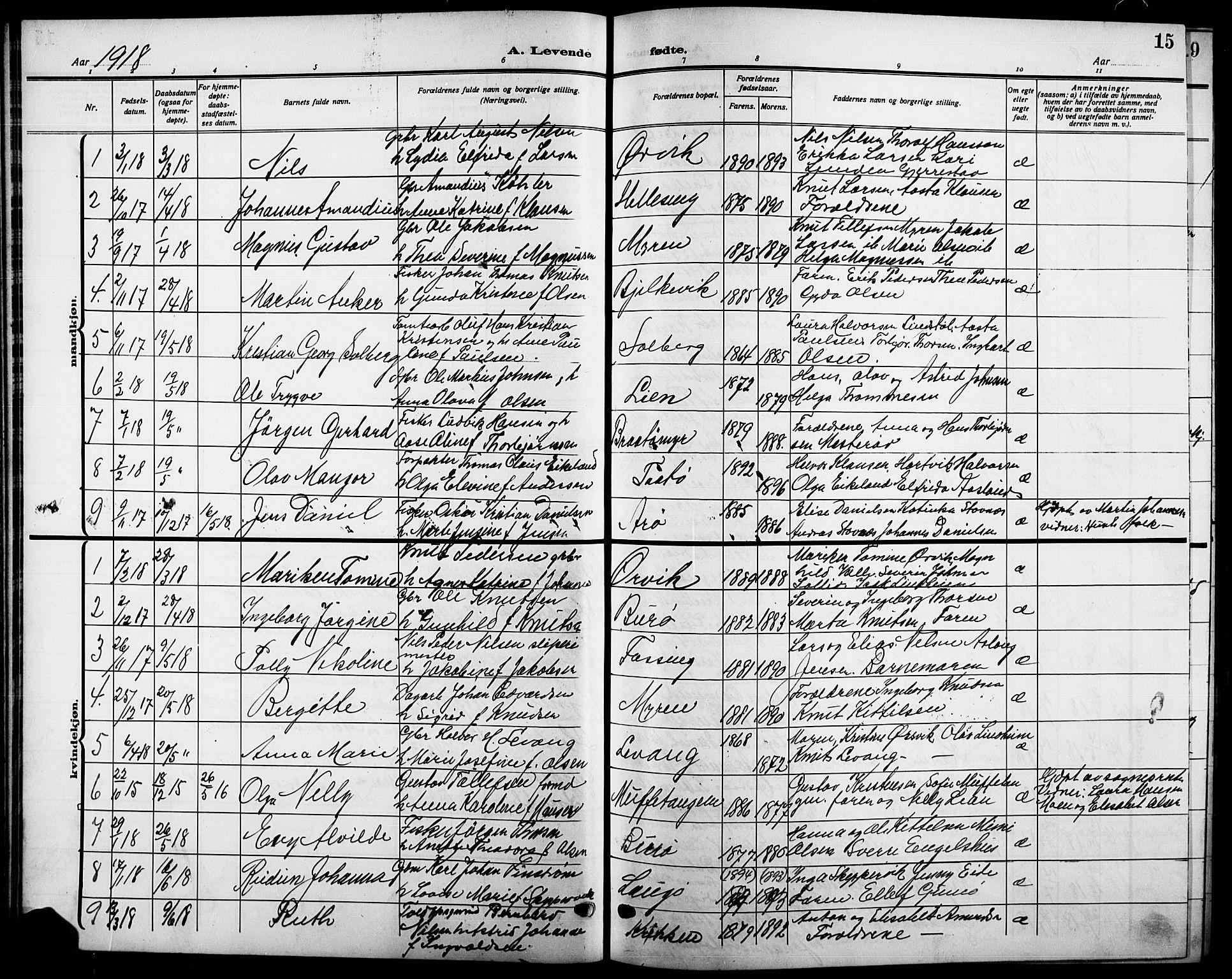 SAKO, Skåtøy kirkebøker, G/Ga/L0005: Klokkerbok nr. I 5, 1915-1925, s. 15