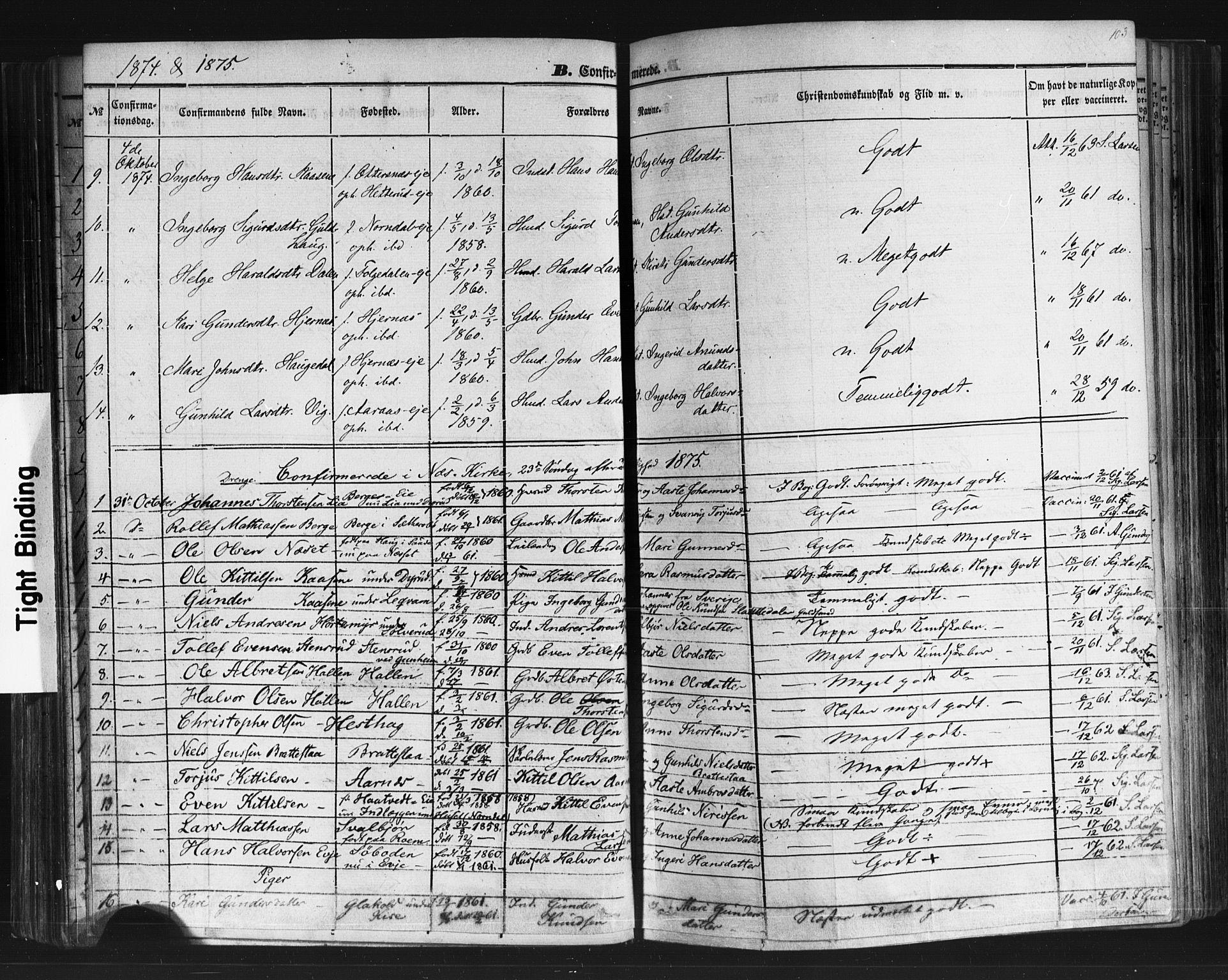 SAKO, Sauherad kirkebøker, F/Fb/L0001: Ministerialbok nr. II 1, 1851-1877, s. 103
