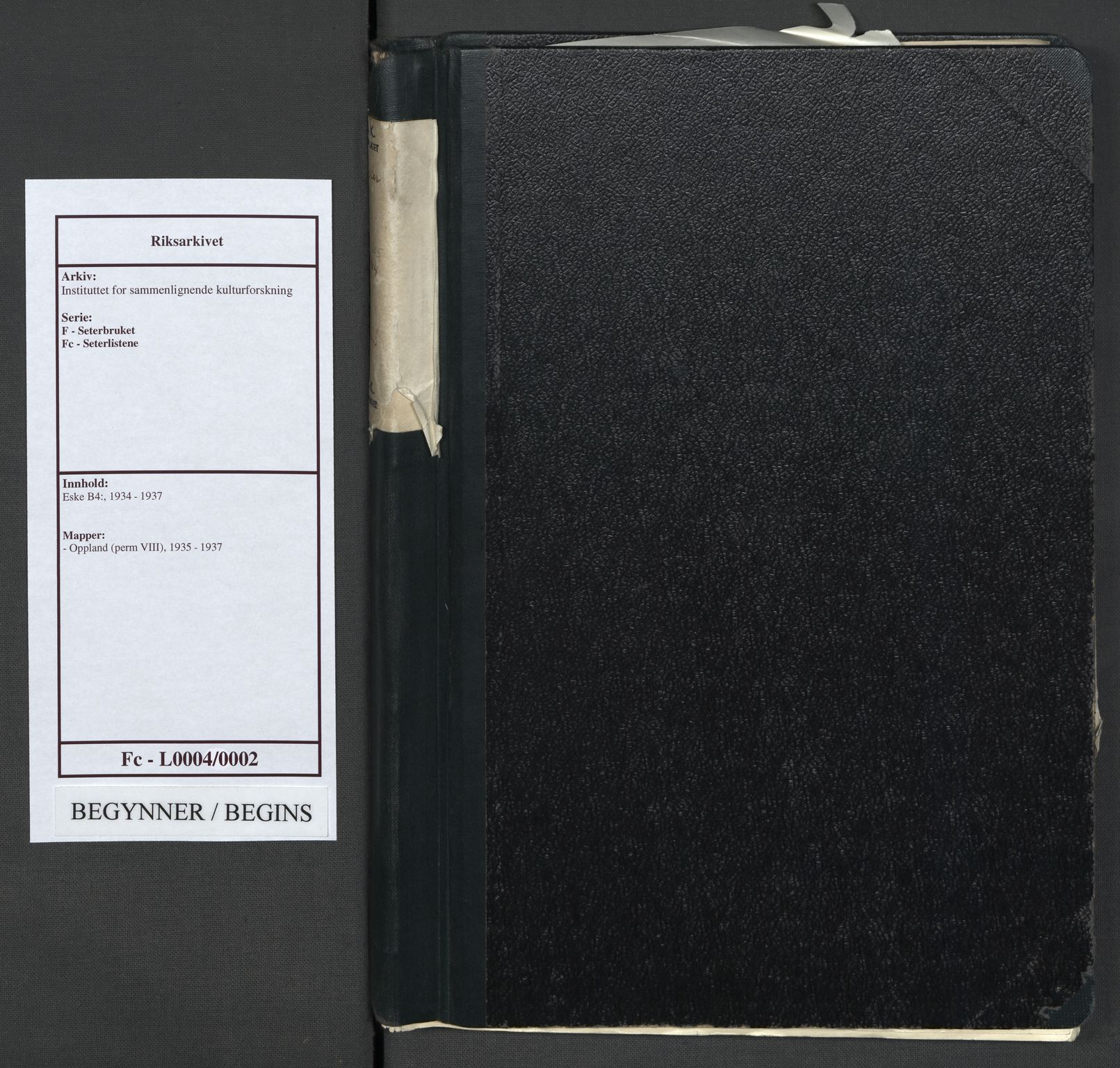 RA, Instituttet for sammenlignende kulturforskning, F/Fc/L0004: Eske B4:, 1935-1937, s. upaginert