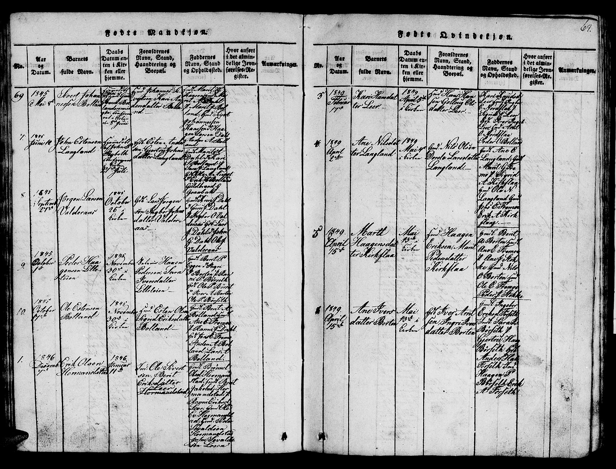 SAT, Ministerialprotokoller, klokkerbøker og fødselsregistre - Sør-Trøndelag, 693/L1121: Klokkerbok nr. 693C02, 1816-1869, s. 64